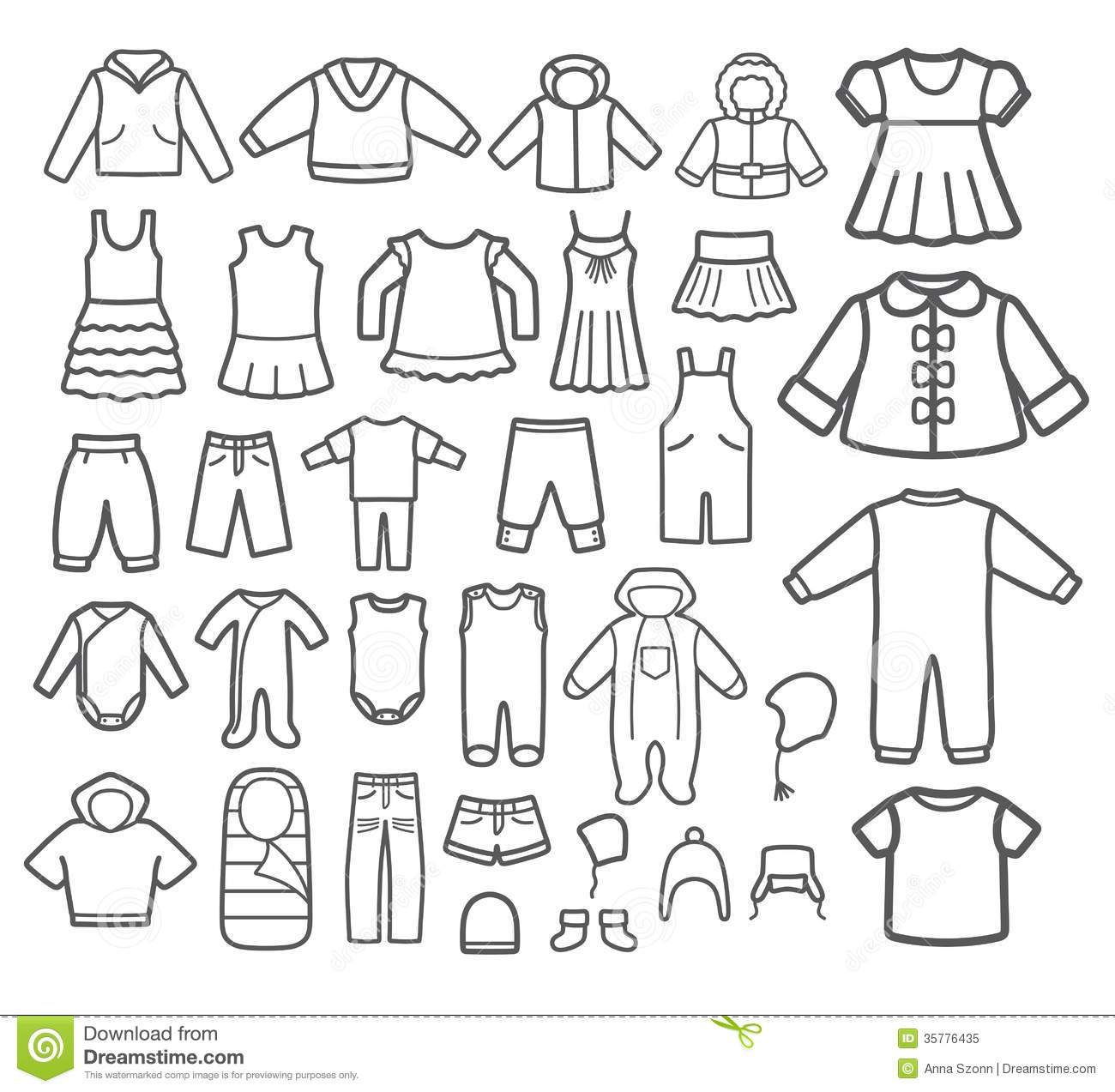 Set Of Children Clothing Stock Vector Illustration Of