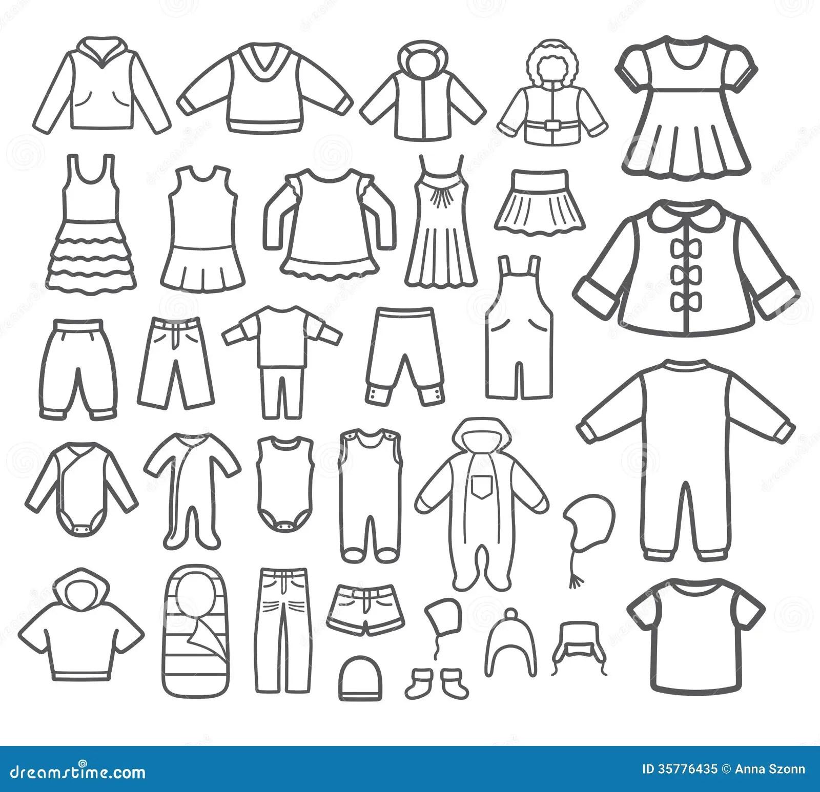 Set of Children clothing. stock vector. Illustration of