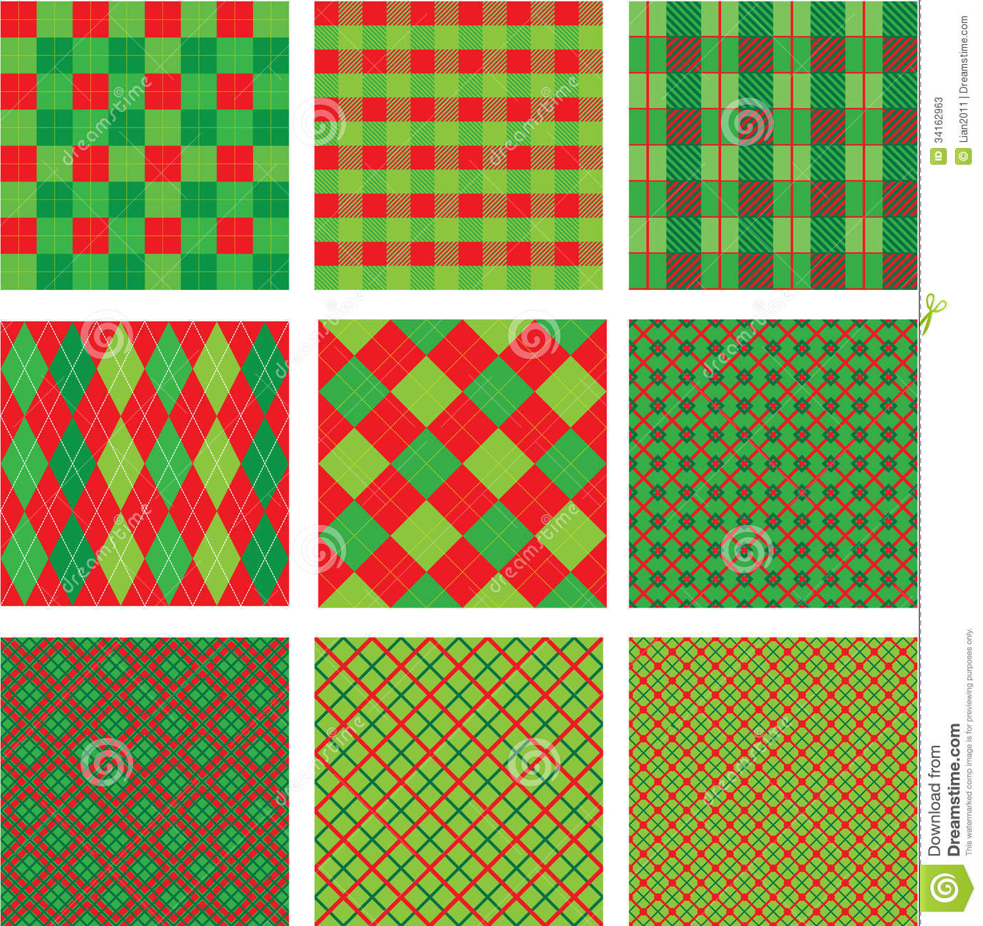 Set Of Christmas And New Year Plaid Seamless Patte Stock