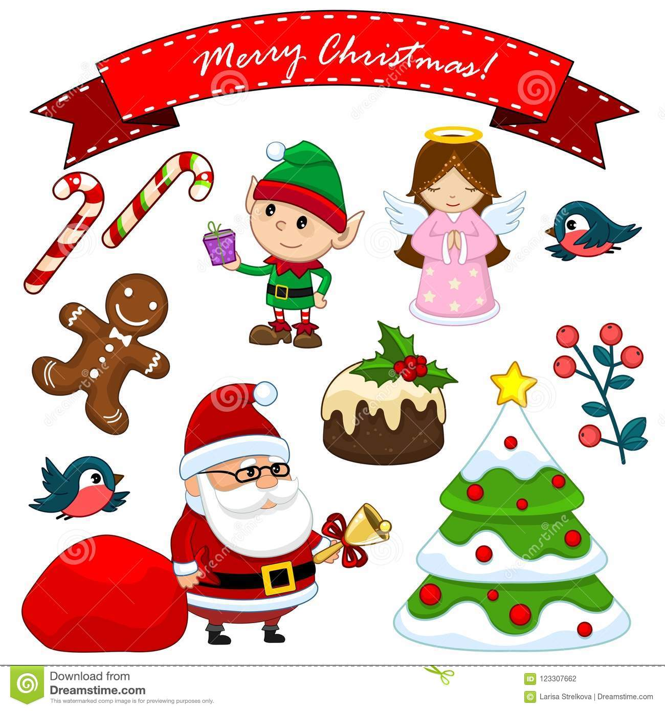 A Set Of Christmas Objects Stock Vector Illustration Of