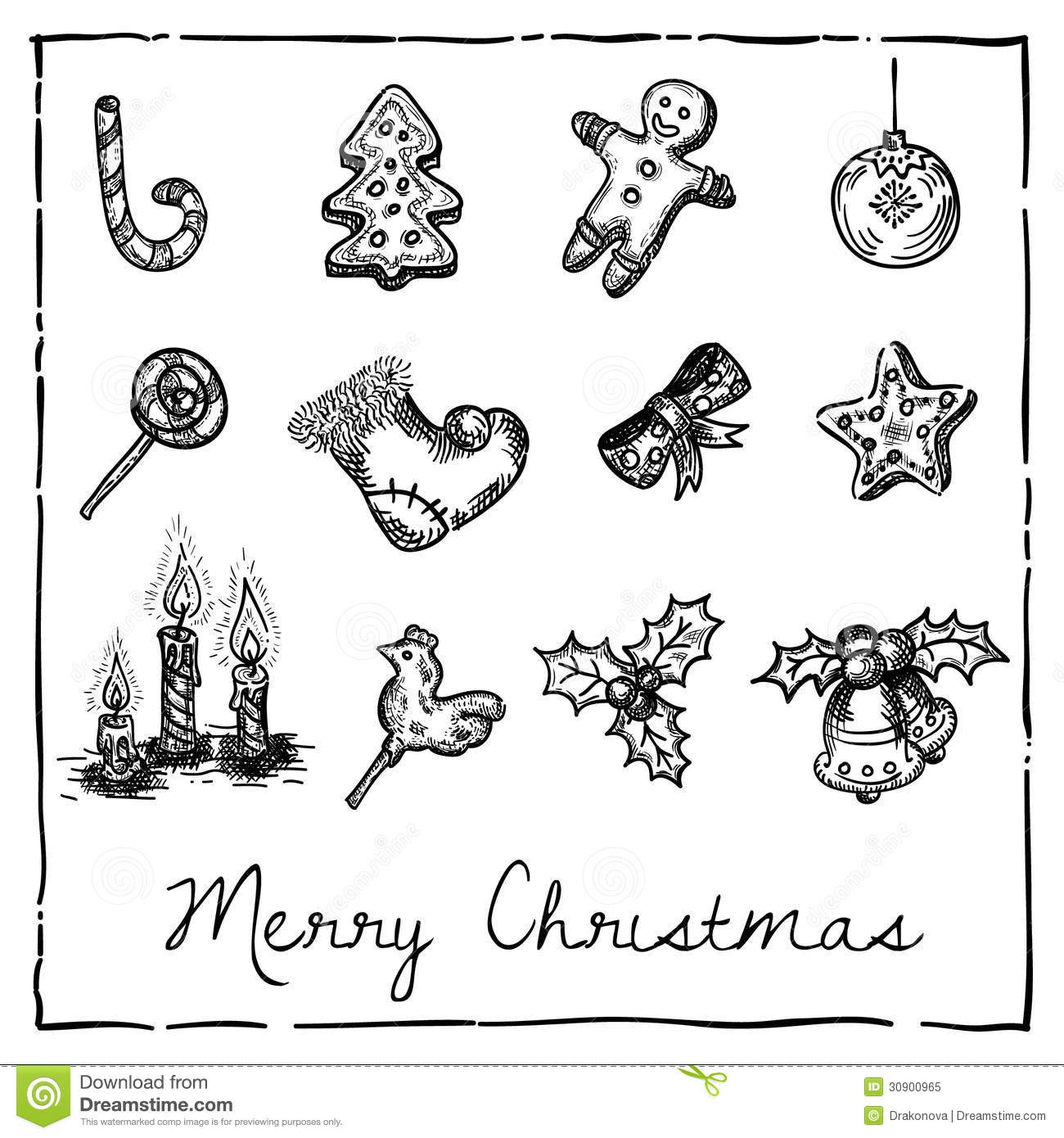 Set Of Christmas Themed Elements Stock Vector
