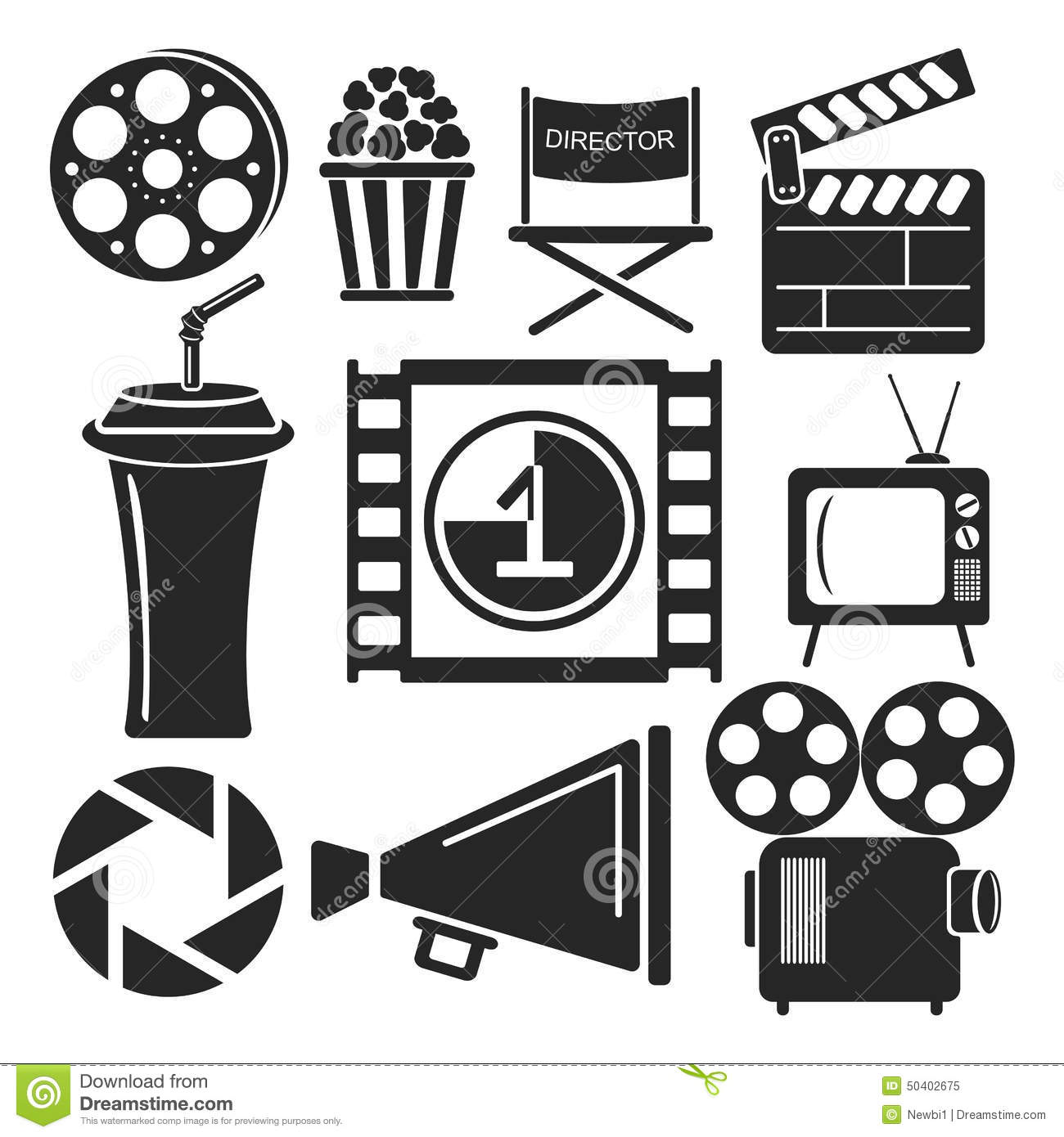 Set Of 9 Cinema Web And Mobile Icons Vector Stock Vector