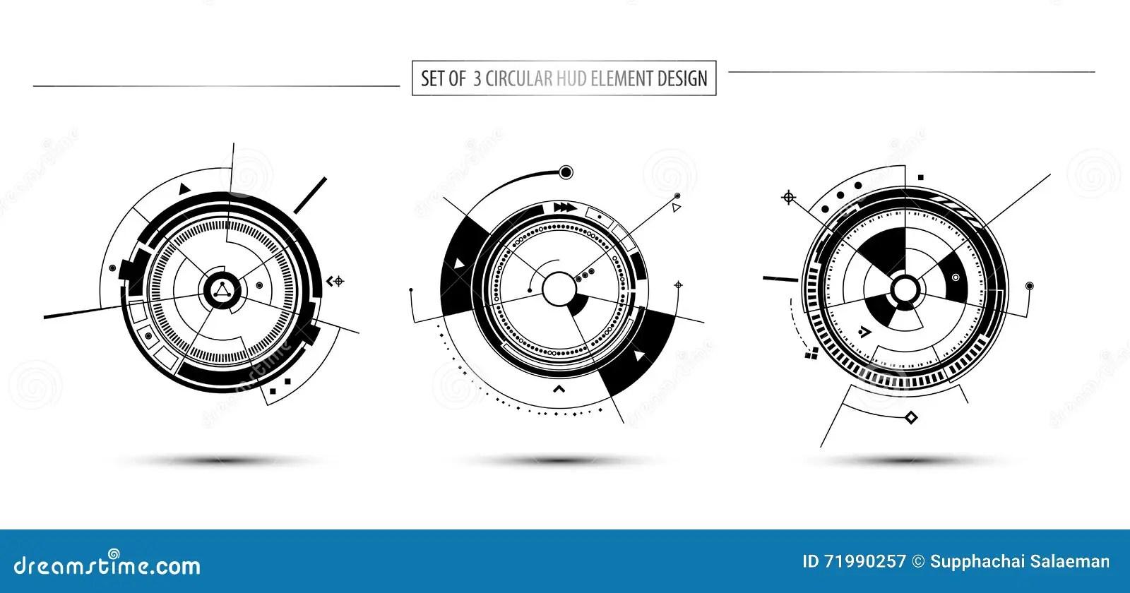Set Of Circular Digital Technology Communication Concept