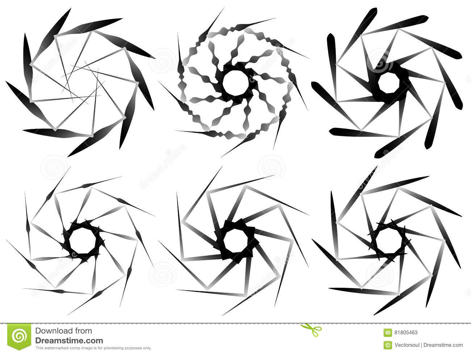 Set Of 6 Circular Geometric Element. Abstract Geometry