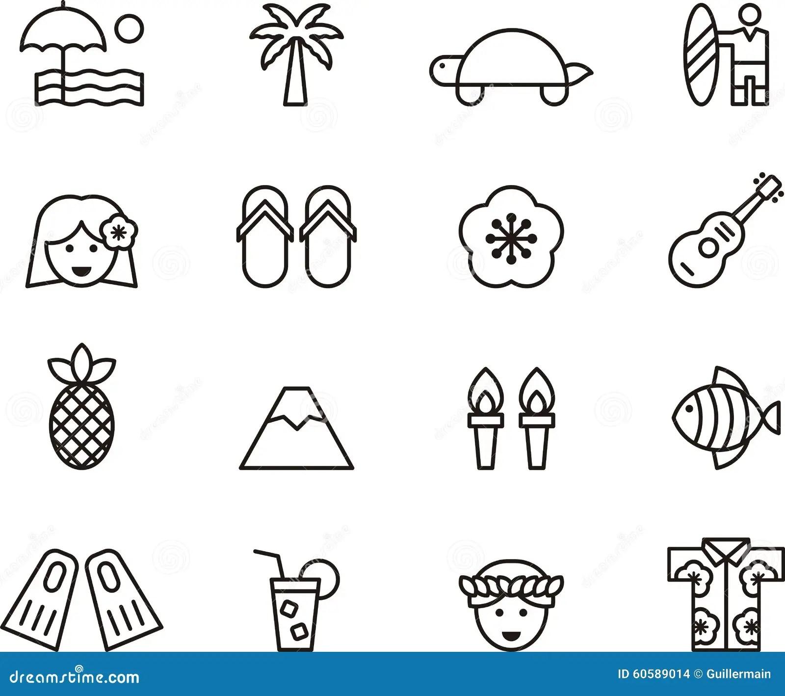 Set Of Clip Art Hawaiian Icons Symbols Stock Photo