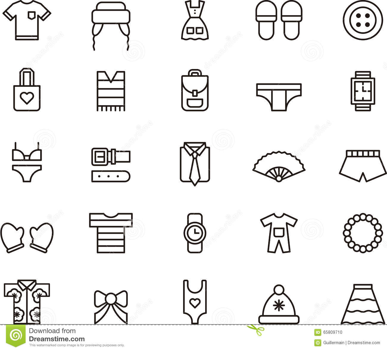 Set Of Clothing And Accessories Icons Stock Vector