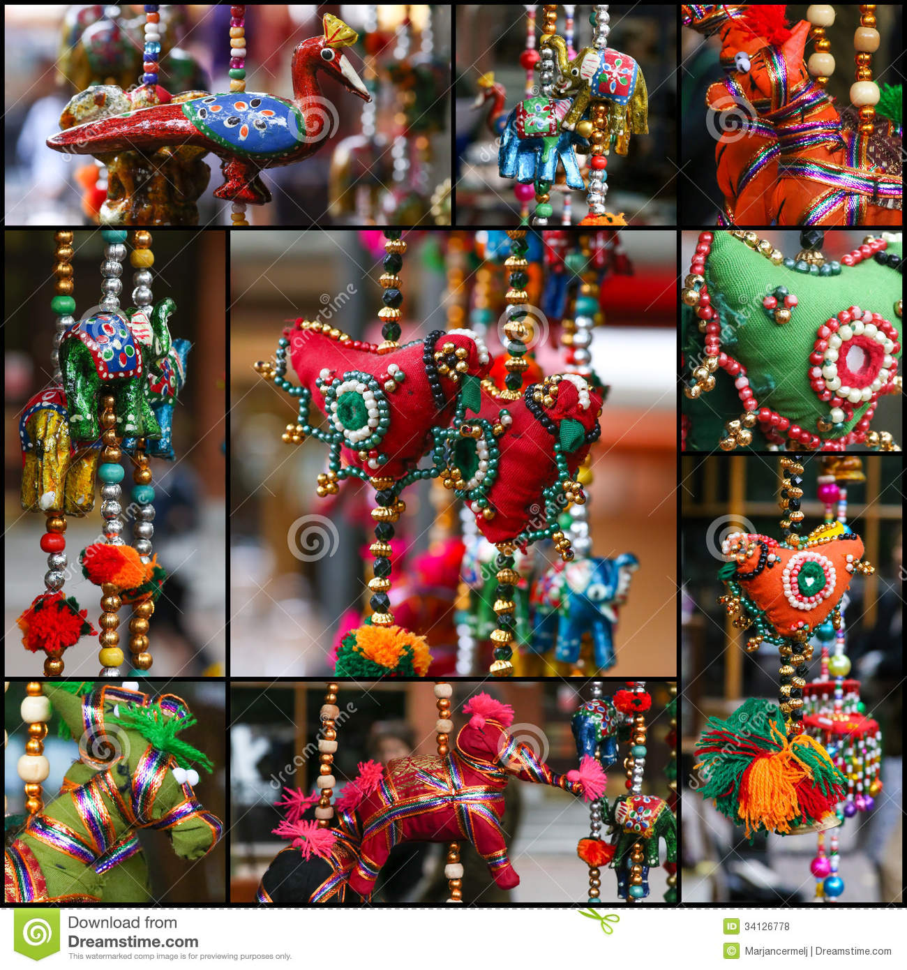 Set Collage Colorful Hanging Decoration Stock Photo