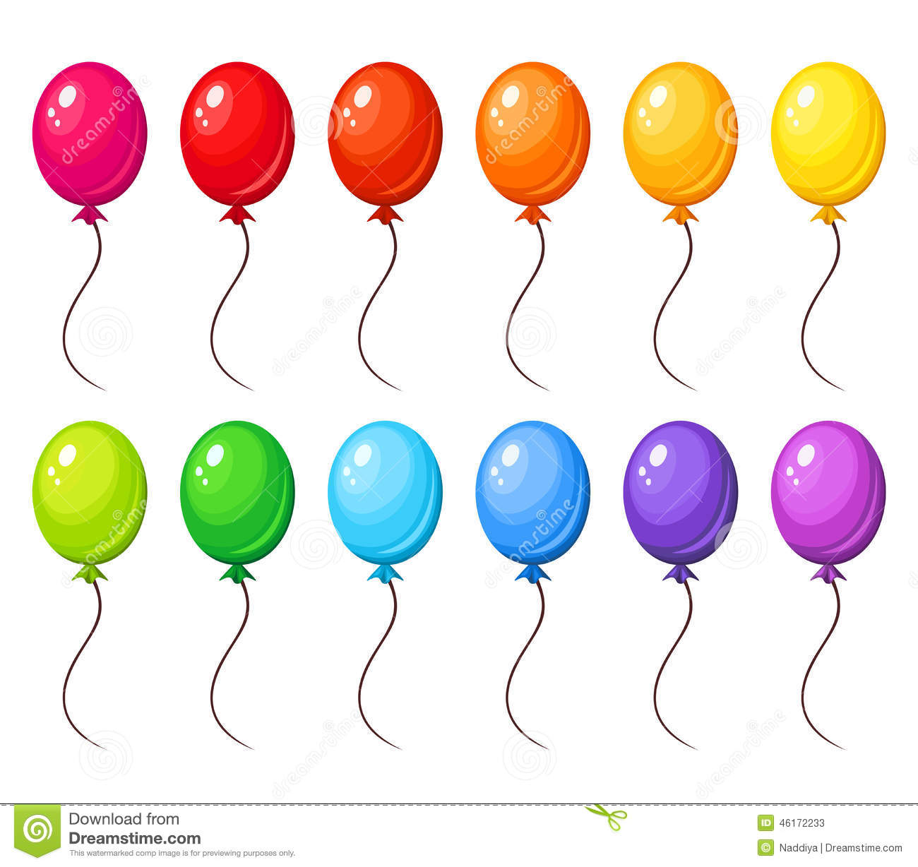 Set Of Colorful Balloons Vector Illustration Stock