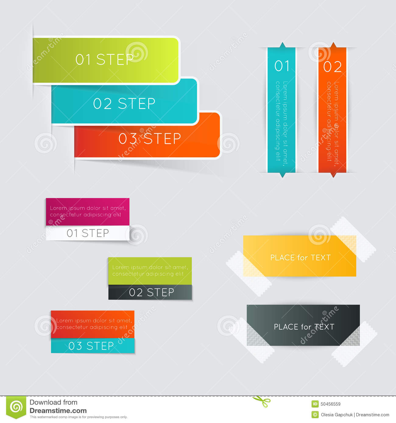 hight resolution of set of colorful text box with steps trendy colors