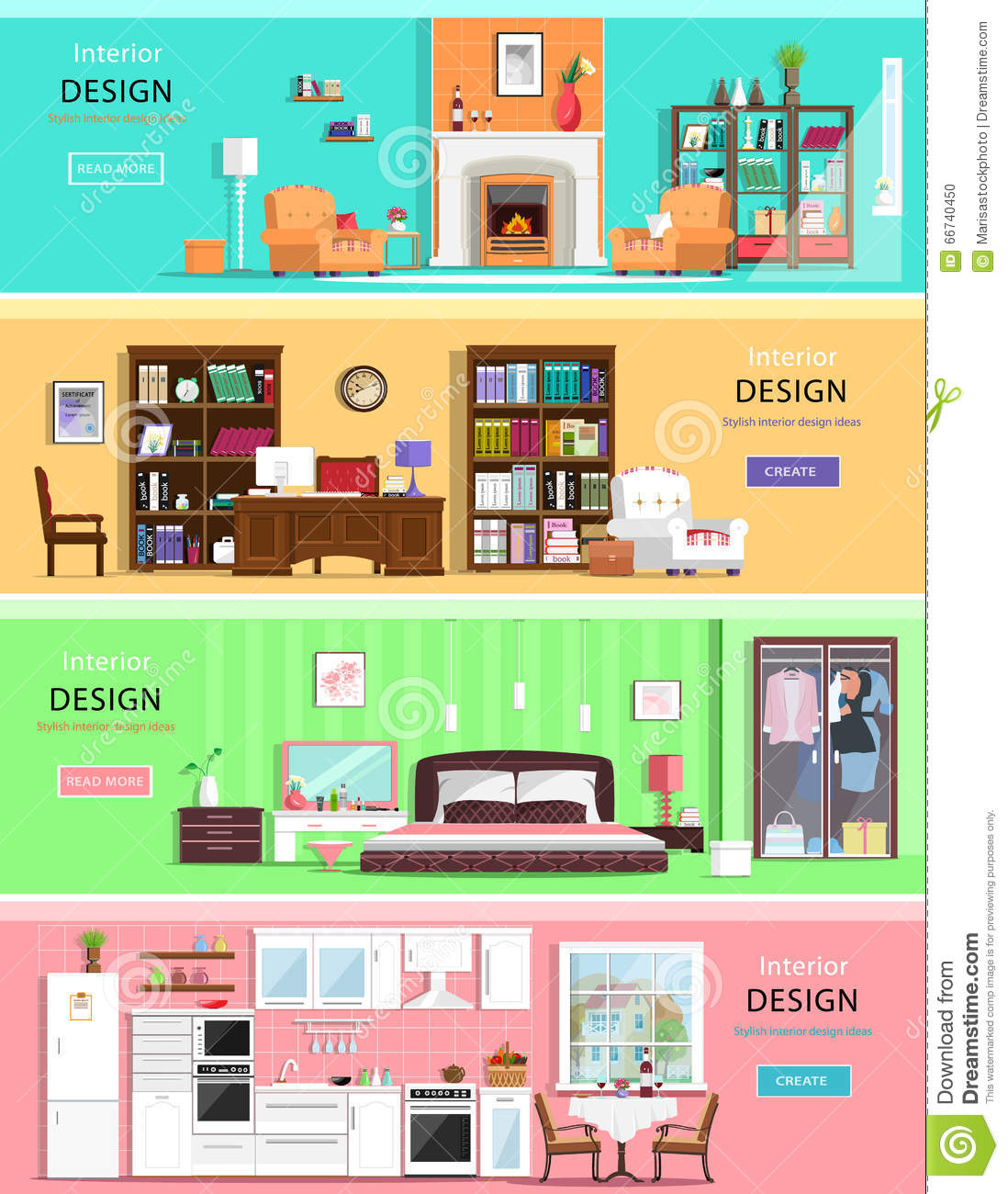 Kitchen Room Bedroom Set Of Colorful Vector Interior Design House Rooms With Furniture