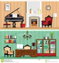 Set Of Colorful Vector Interior Design House Rooms With ...