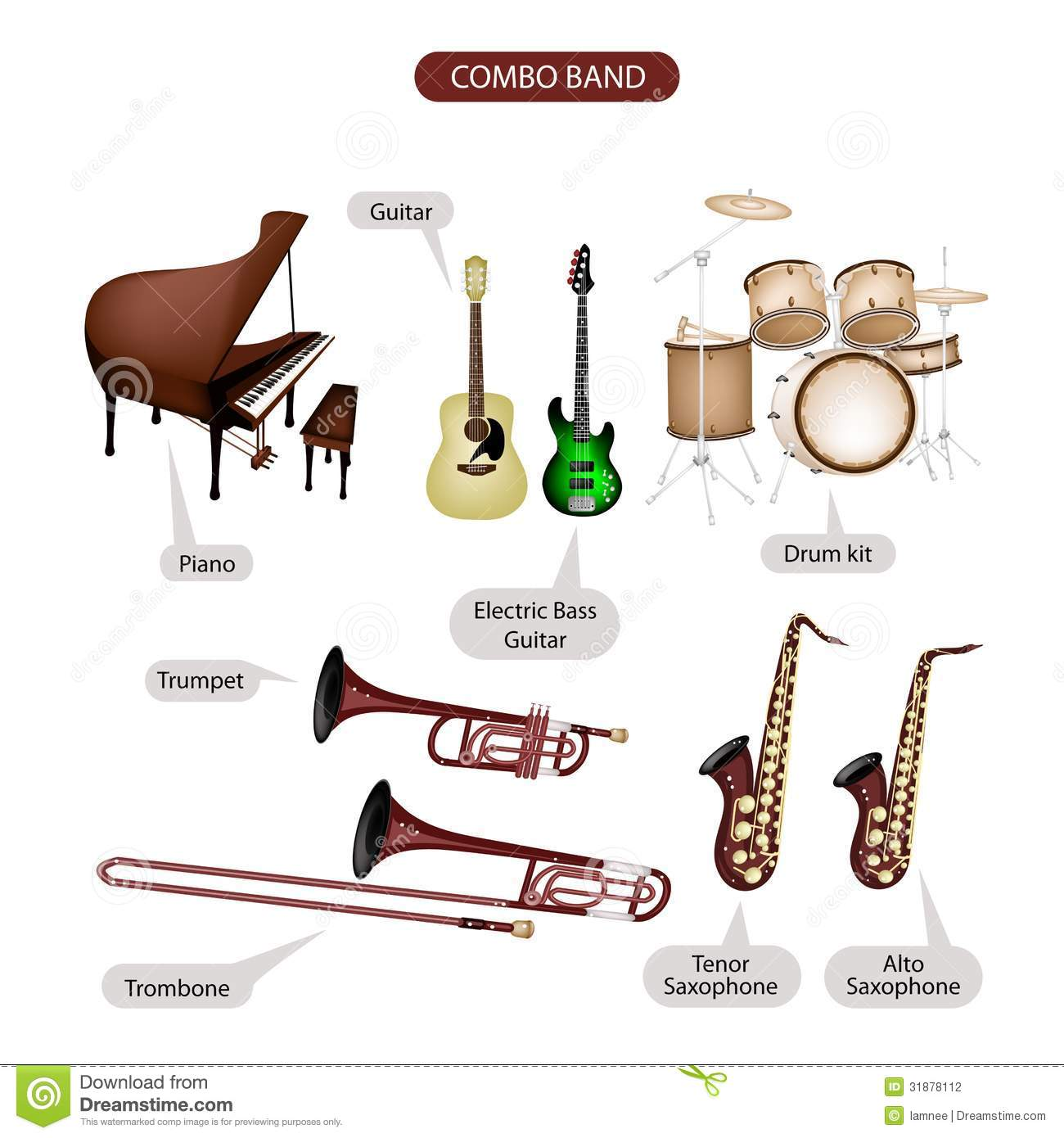 A Set Of Combo Brand Music Equipment Stock Photography