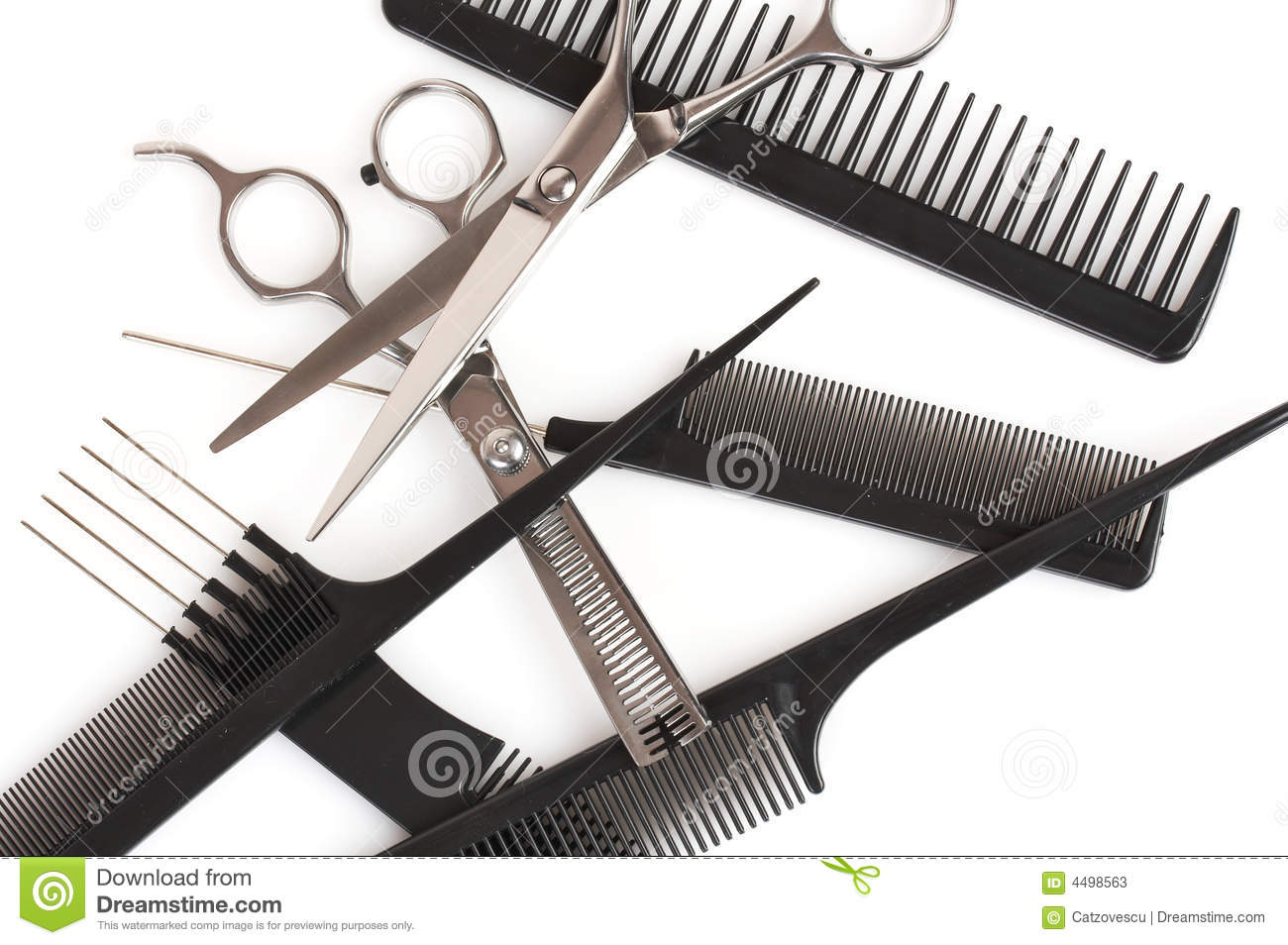 Set Of Combs And Scissors Hairstyle Accessories Stock Photos  Image 4498563