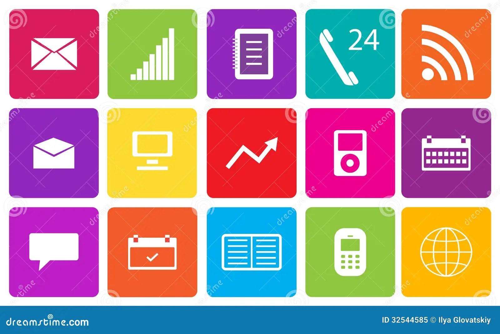 Set Of Communication And Media Icons Stock Illustration - Illustration of equipment. corporate: 32544585