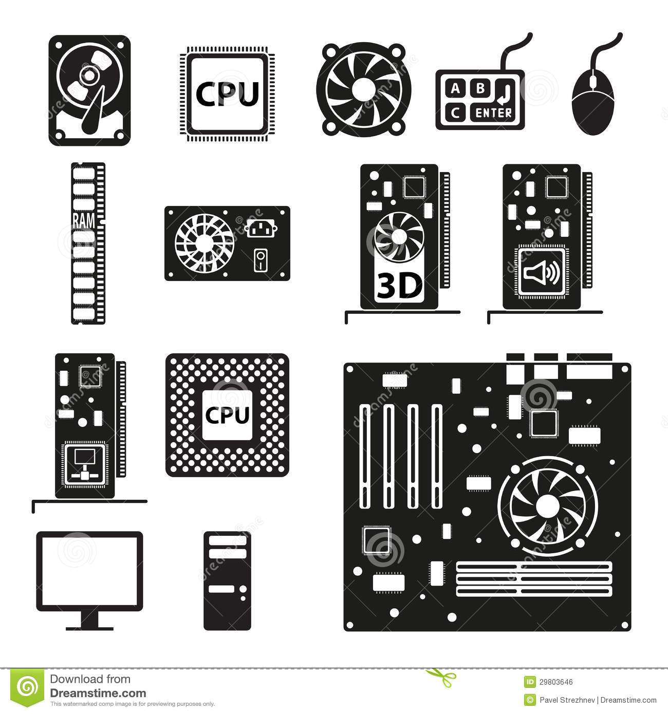 Set Of Computer Hardware Icons Stock Vector