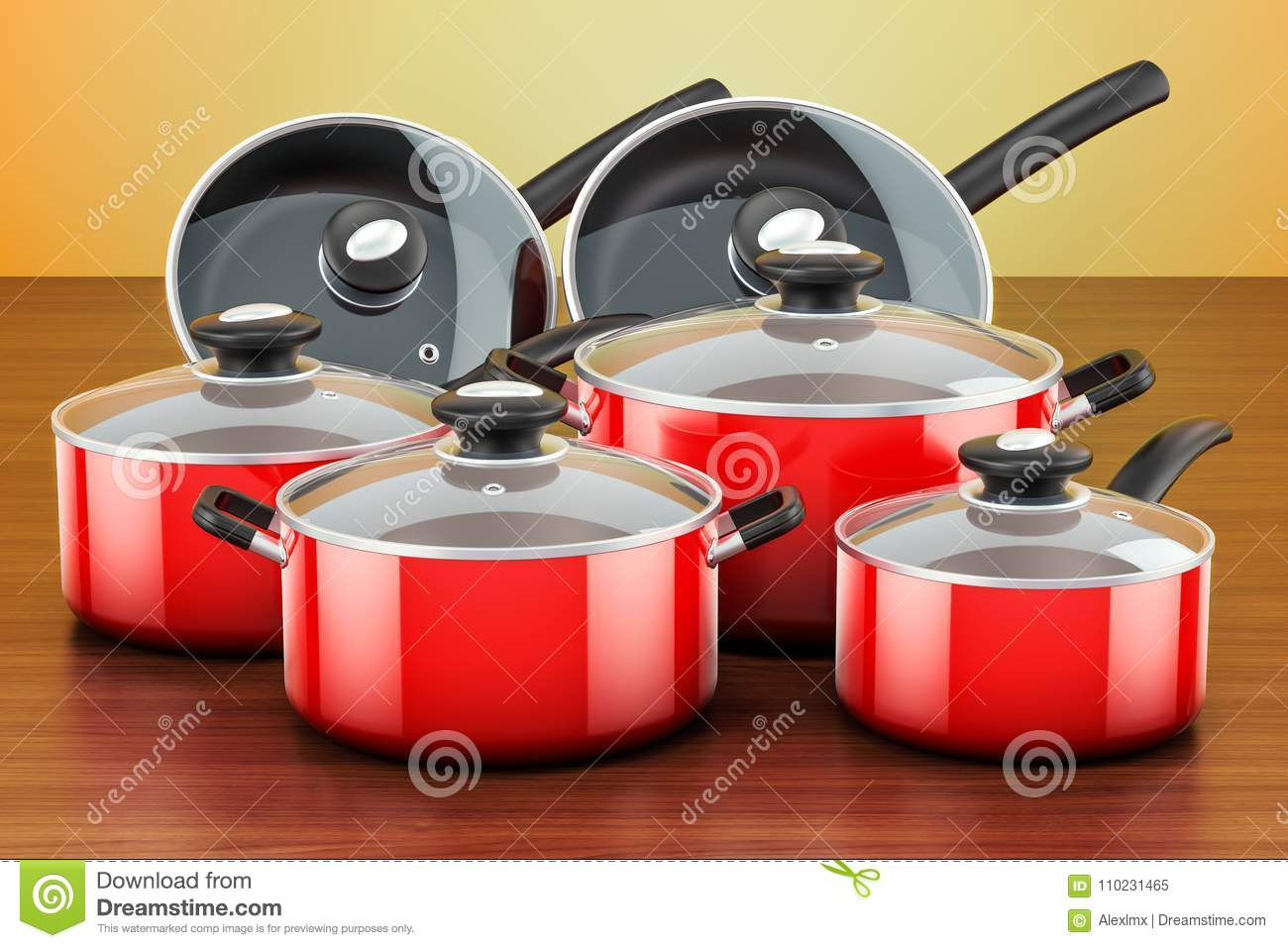 kitchen pots and pans rustic outdoor kitchens set of cooking red utensils cookware