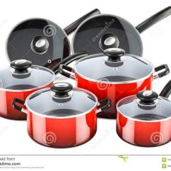 Kitchen Pots And Pans Miniature Set Of Cooking Red Utensils Cookware 3d Rendering