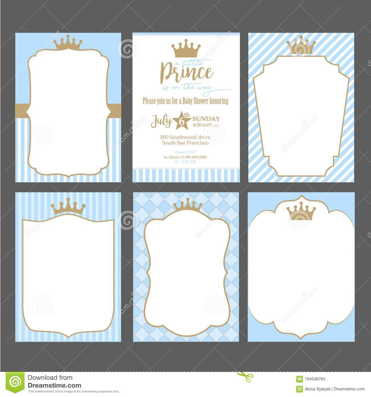 https www dreamstime com set cute blue templates invitations vintage gold frame crown little prince party baby shower wedding birthday invite image104548764