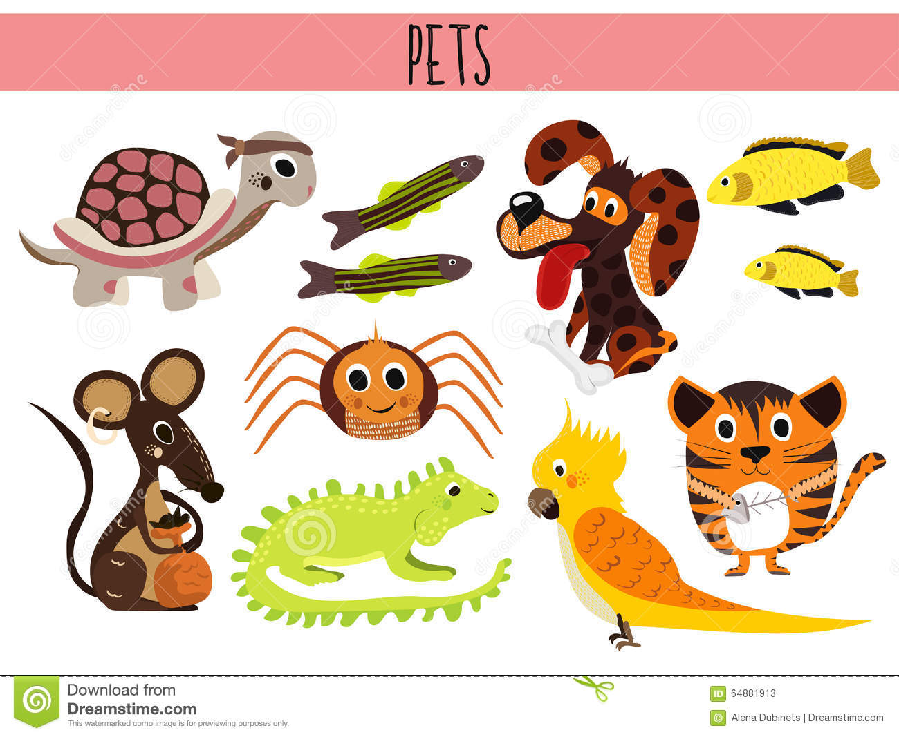 Set Of Cute Cartoon Animals And Birds Pets Turtle Spider