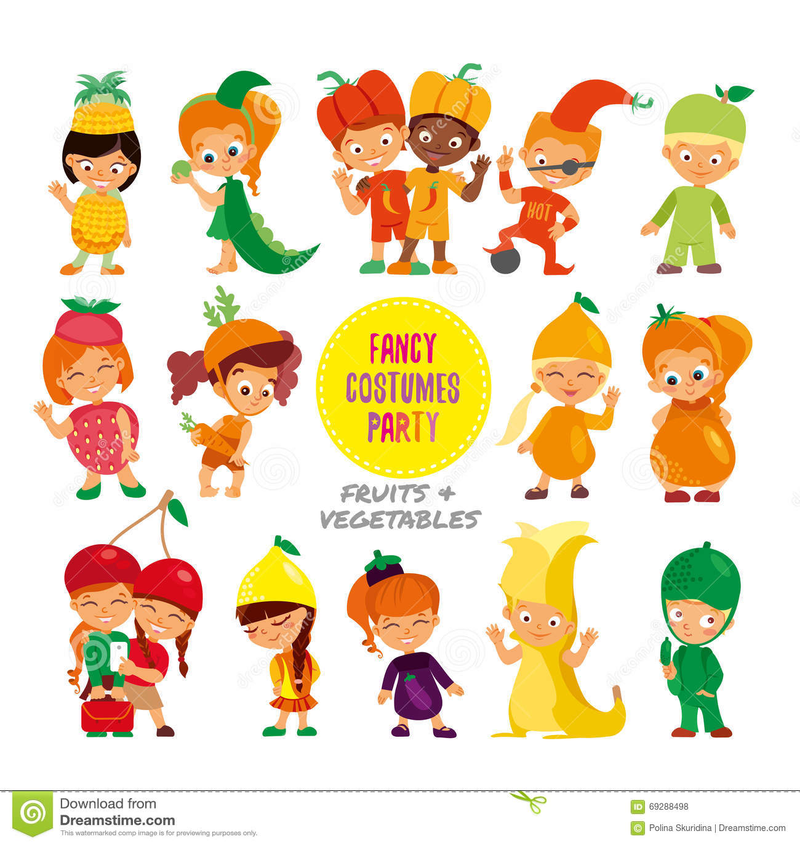 Set Of Cute Cartoon Kids In Fruits And Vegetables Fancy