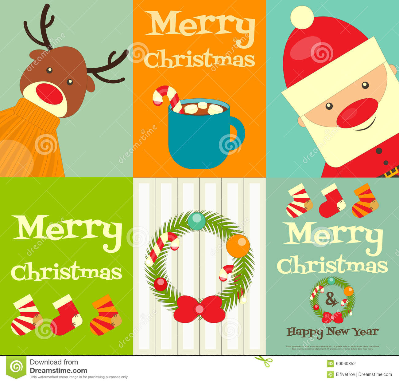 Set Of Cute Christmas Posters Stock Vector Image 60060852
