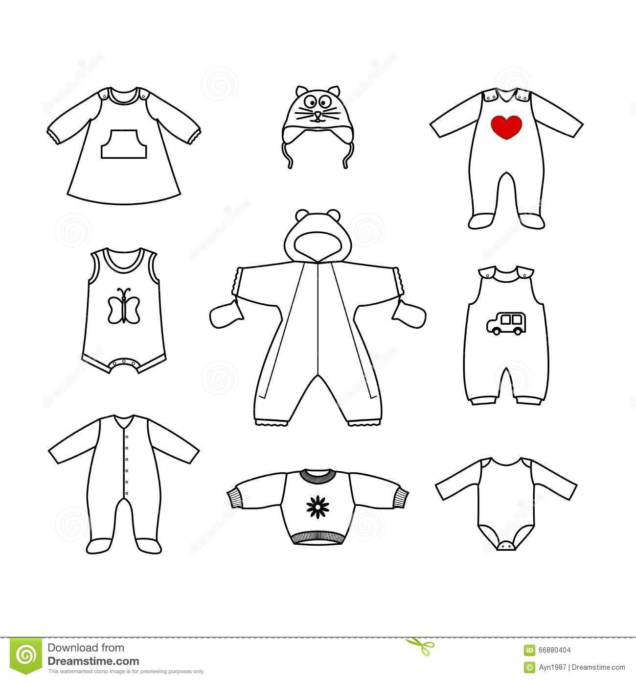 Set Of Cute Clothes For The Little Baby Collection Of Clothing In A Linear Style For The