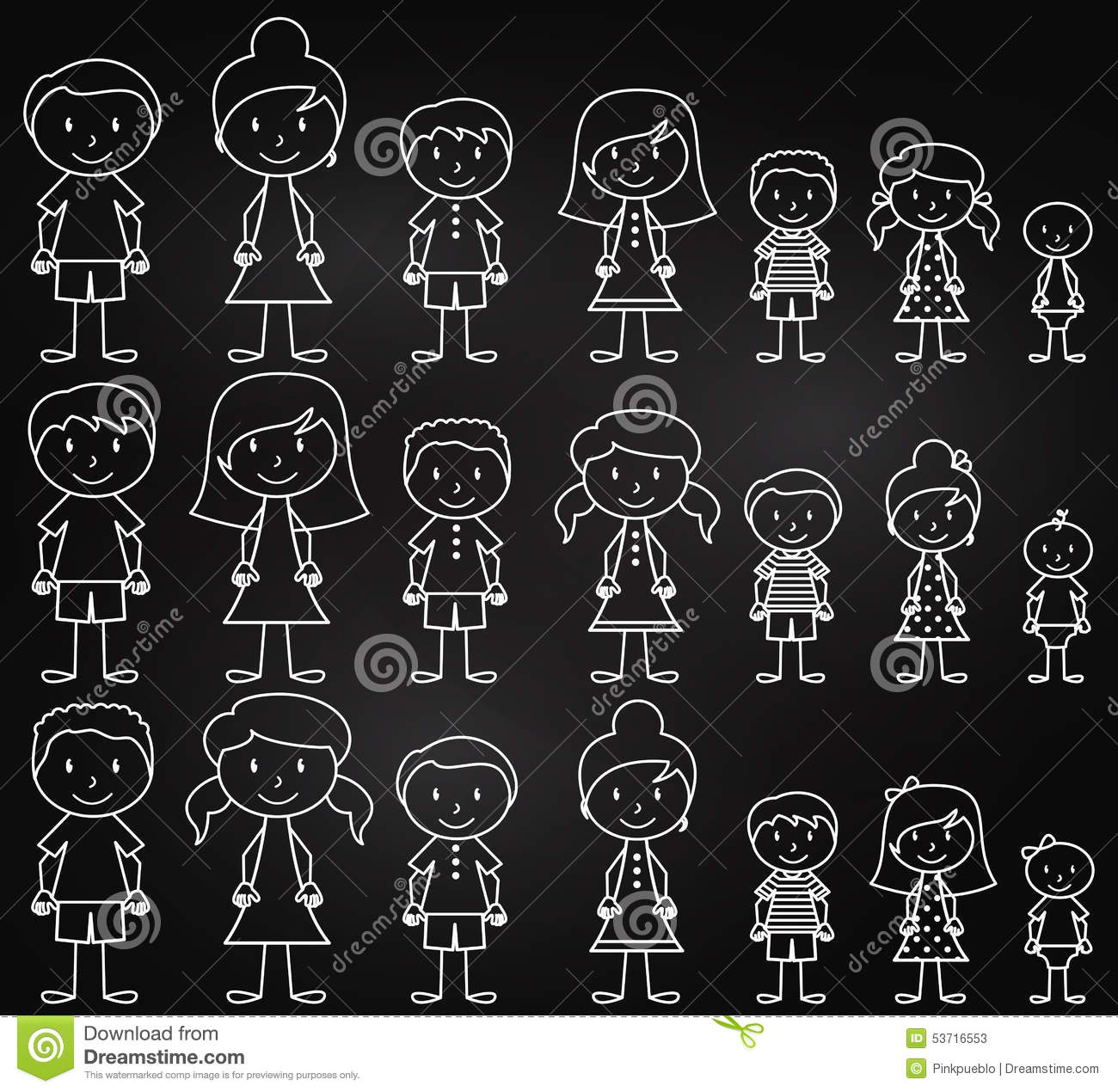 Set Of Cute And Diverse Chalkboard Stick People In Vector
