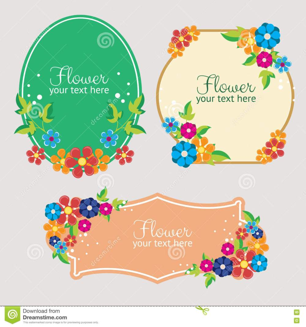 medium resolution of set cute flat style flower label