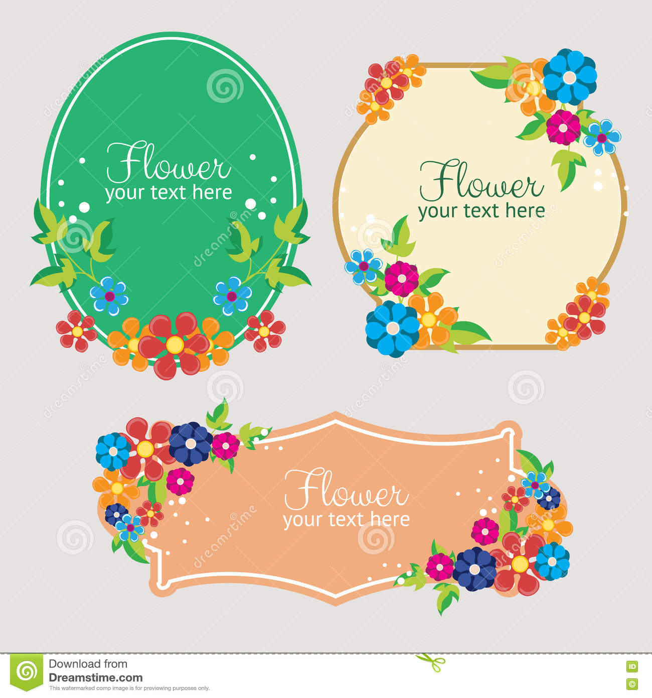 hight resolution of set cute flat style flower label
