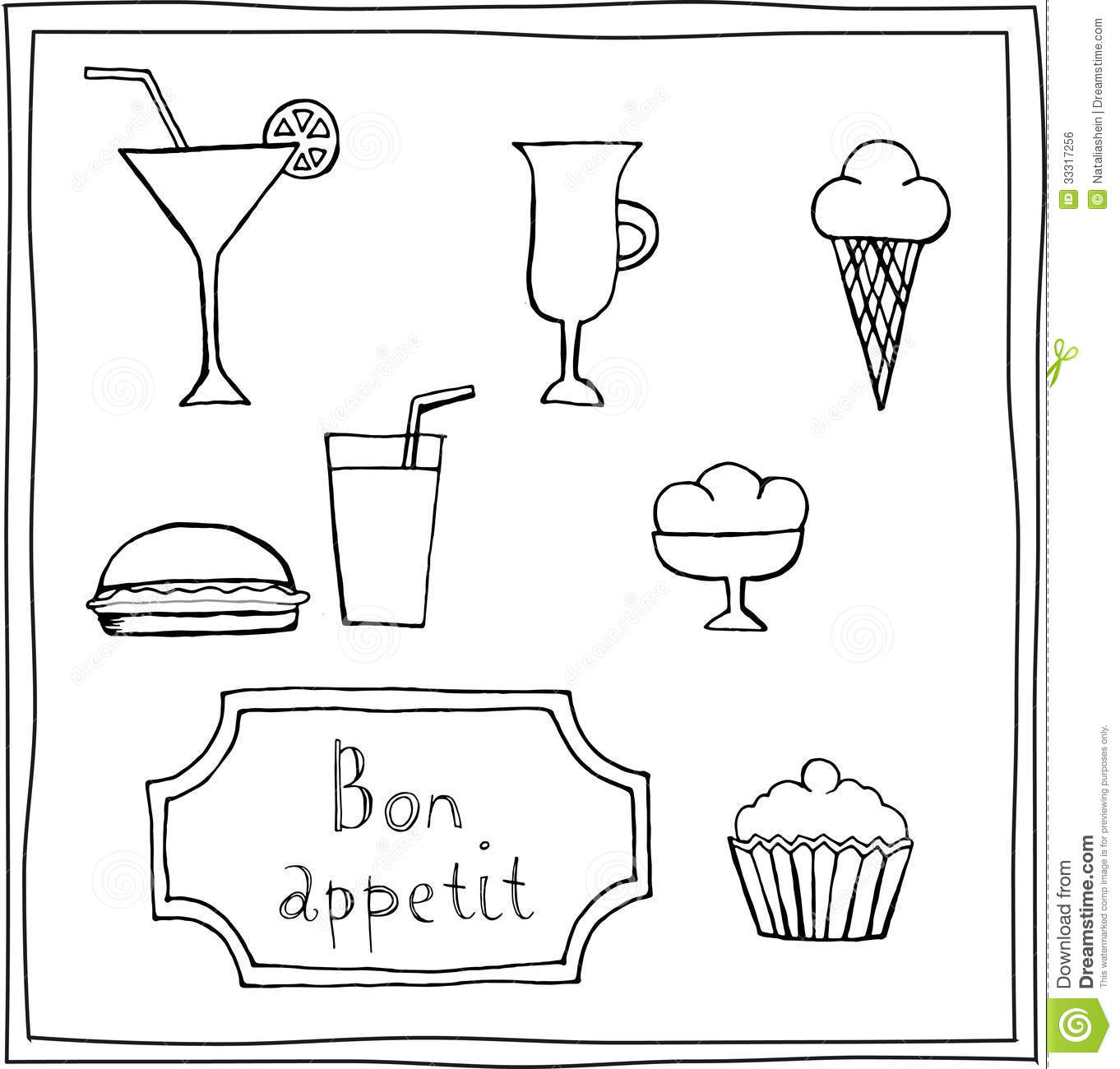 Set Of Cute Food Drawings Stock Vector Illustration Of