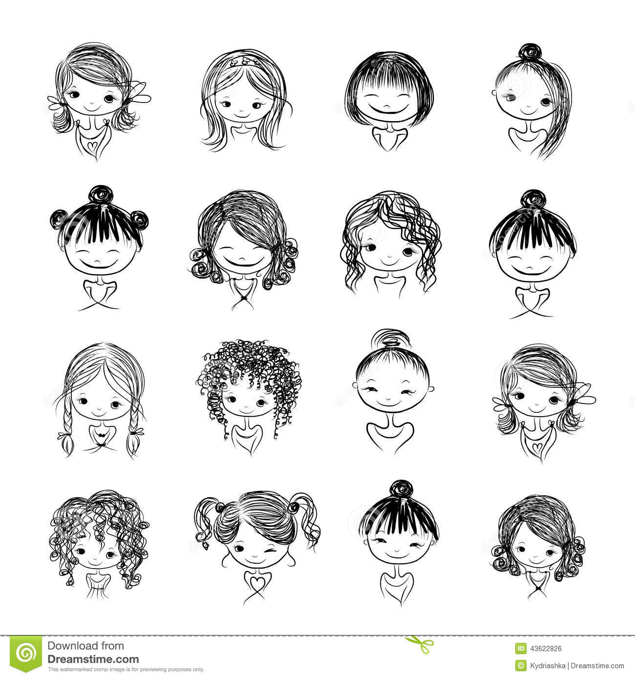 Set Of Cute Girl Characters Cartoon For Your Stock Vector