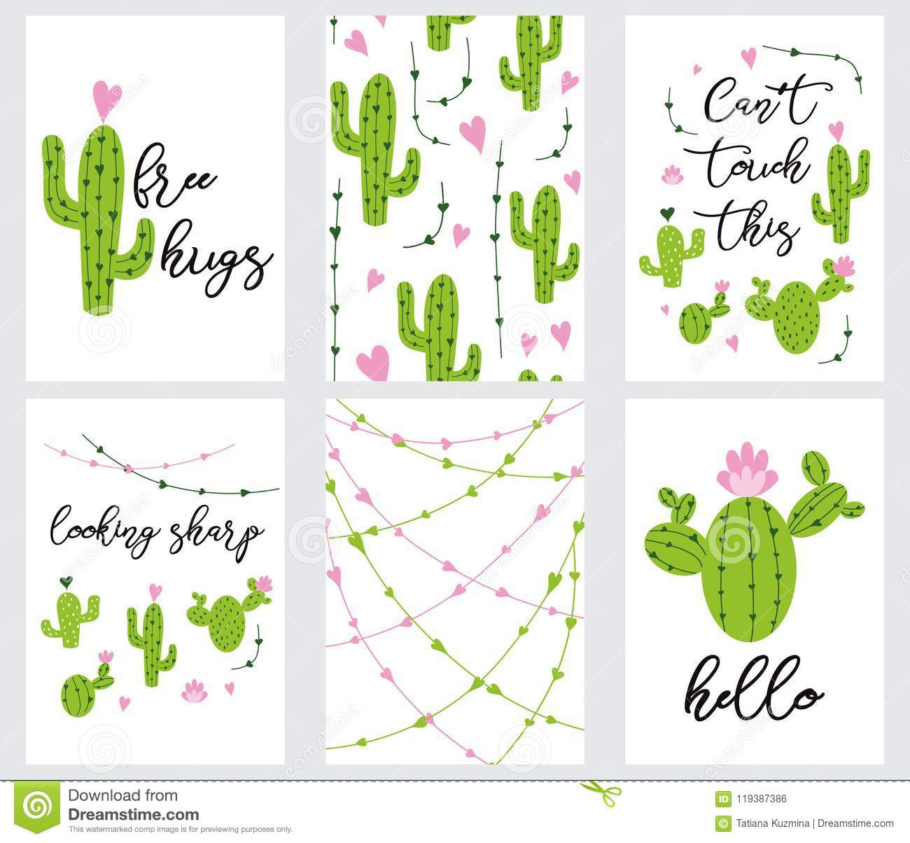 Set Cute Ready To Use Gift Tags With Cactus Printable