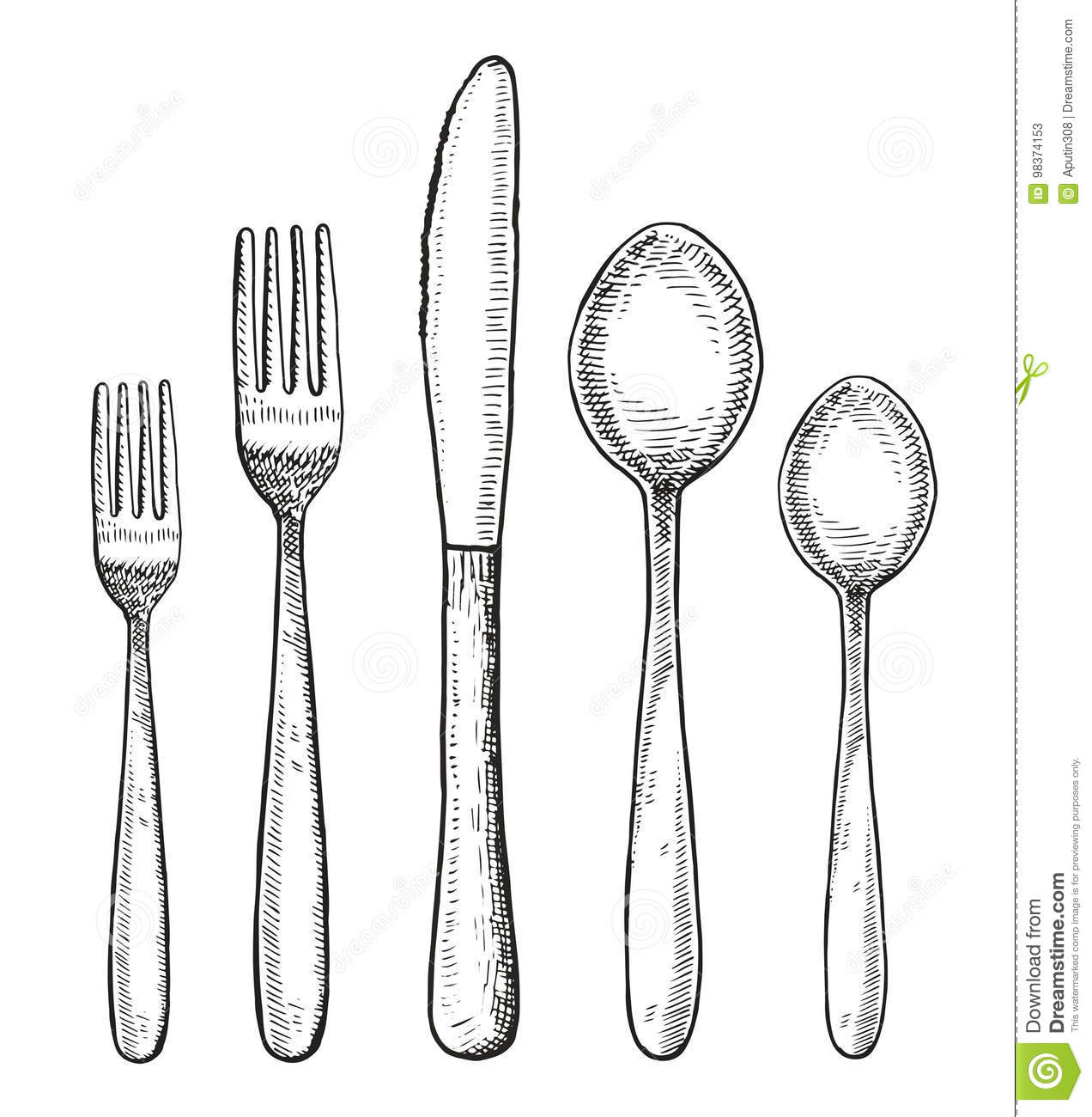 Set Of Cutlery Vector Spoon Fork And Knife Hand Drawing