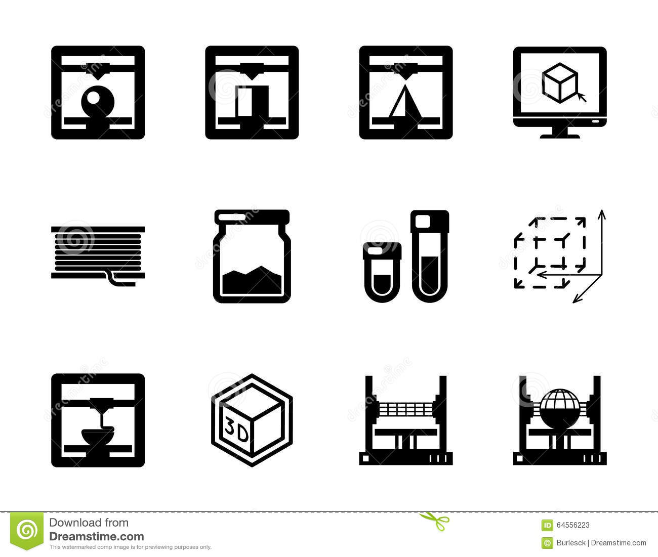 Set Of 3d Printing Black Vector Icons Stock Vector