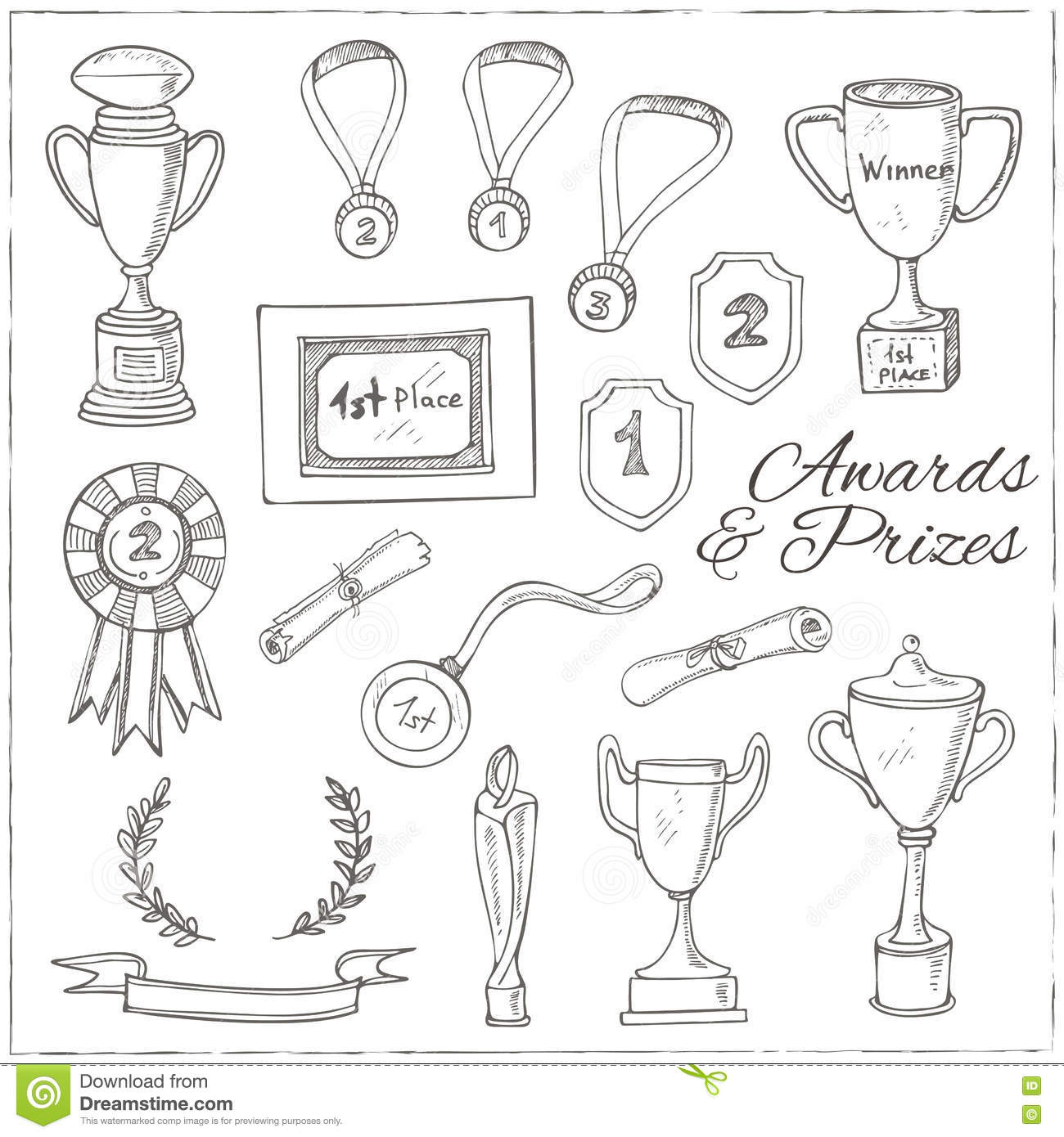 Set Of Decorative Sketch Award With Trophy Stock Vector