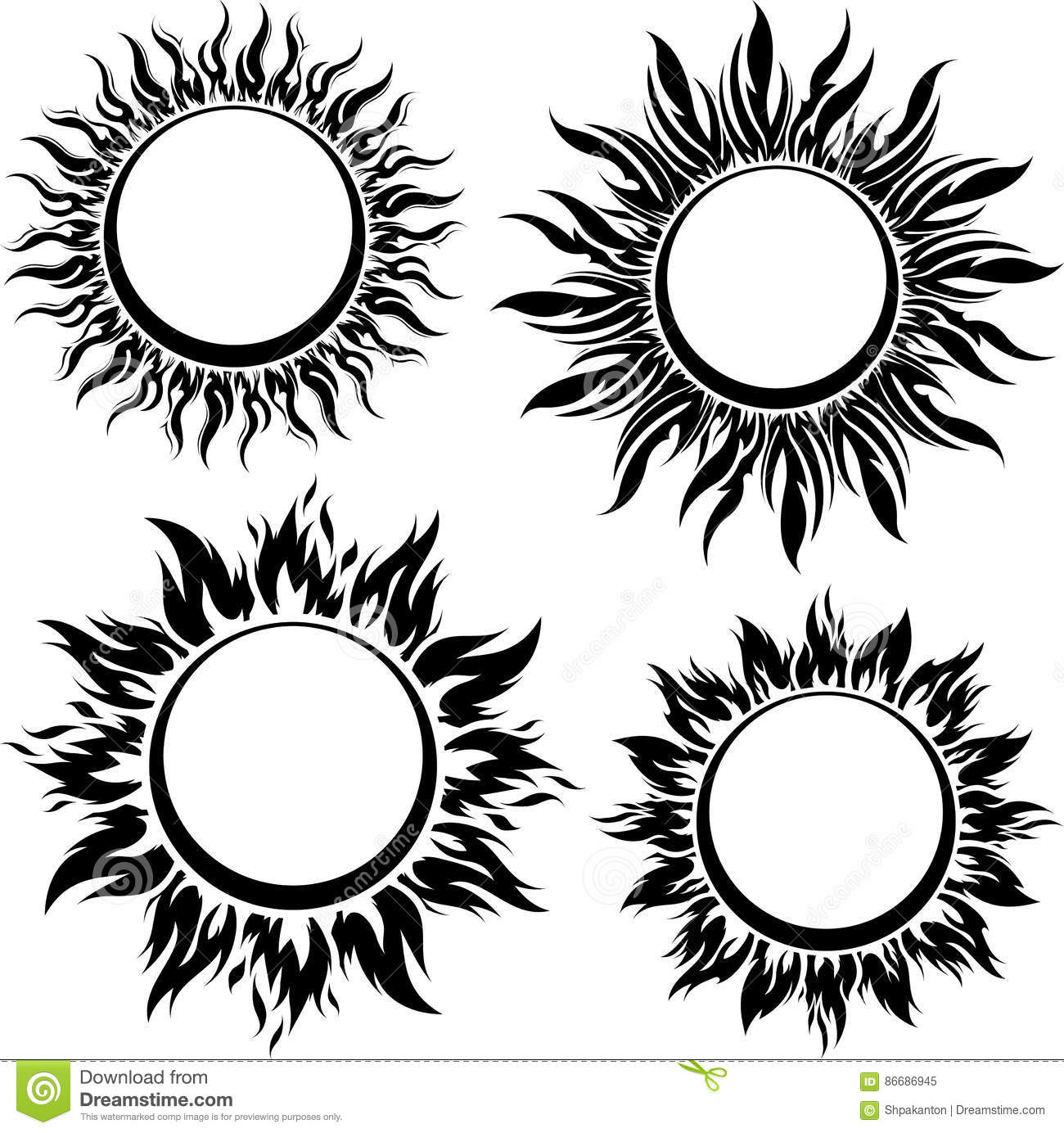 Set Of Decorative Vector Black Sun Symbols With Long Rays
