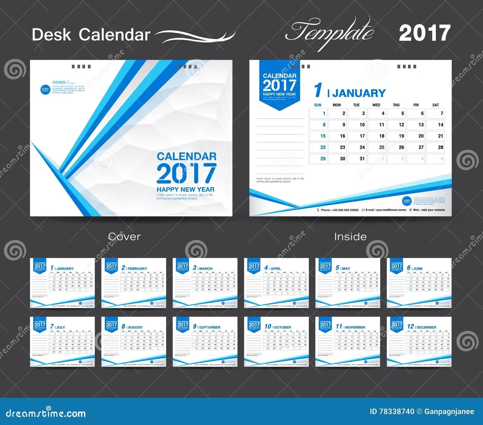 Set Desk Calendar 2017 Template Design Cover Desk Calendar Stock Illustration Image 78338740