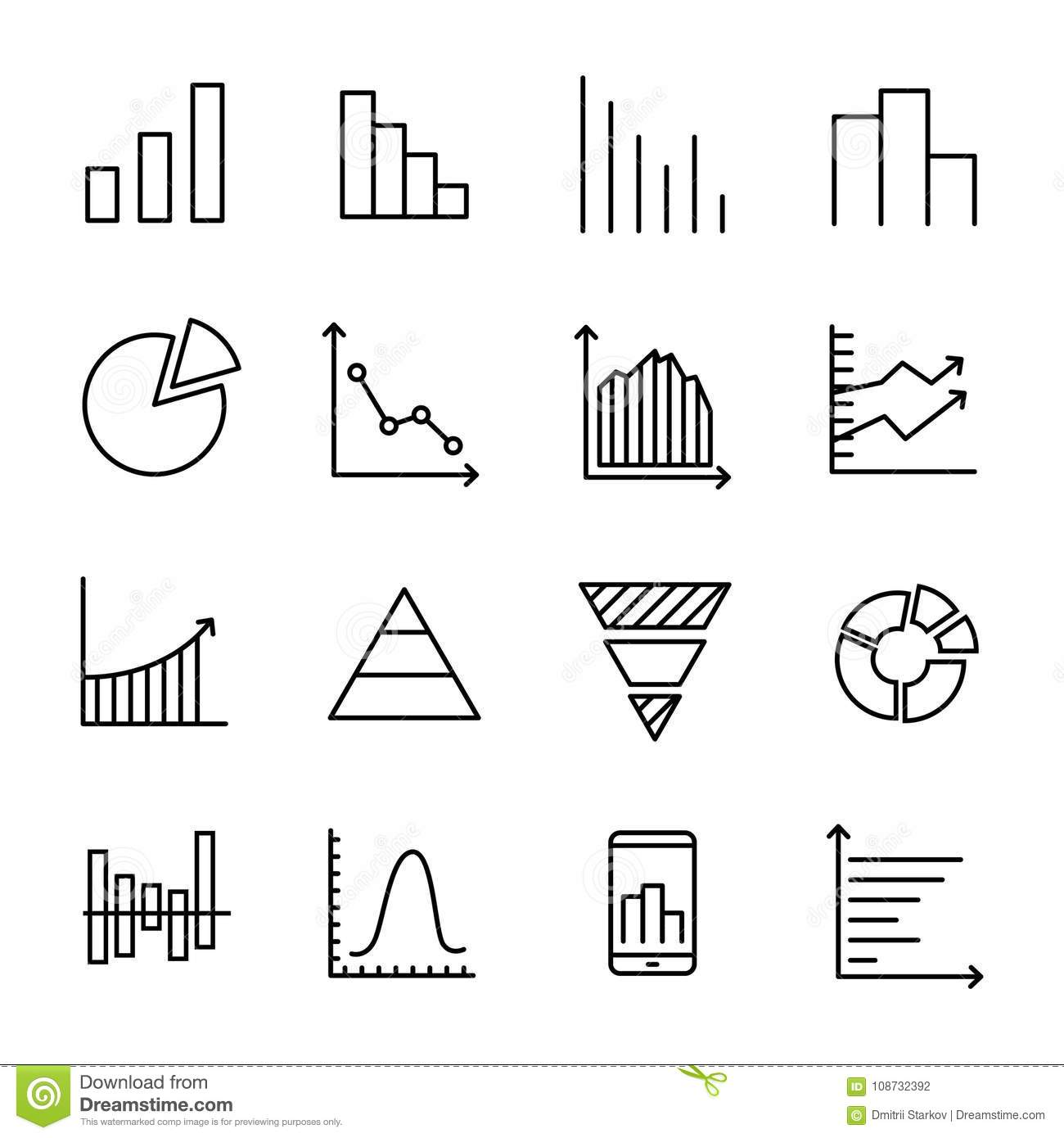 Set Of 16 Diagram Thin Line Icons Stock Vector