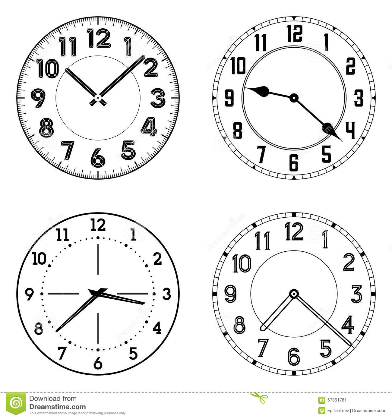 The Set Of Different Clock Faces Stock Vector