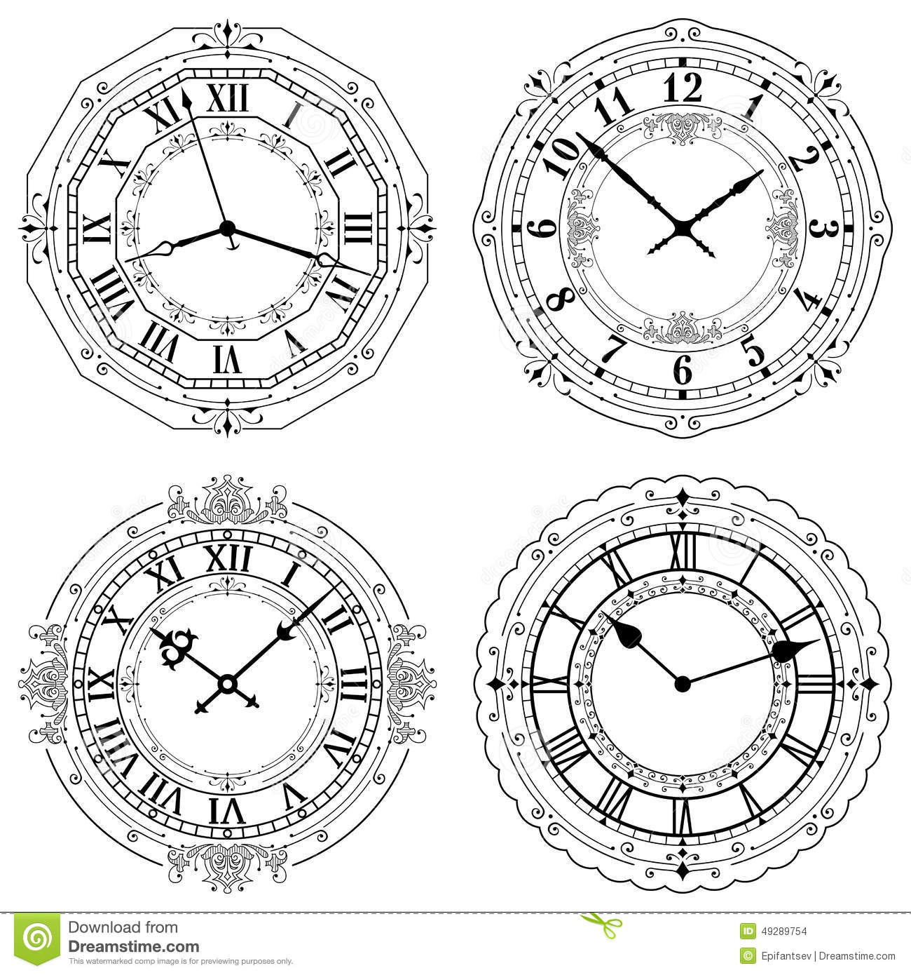 Set Of Different Decorated Clock Faces Stock Vector