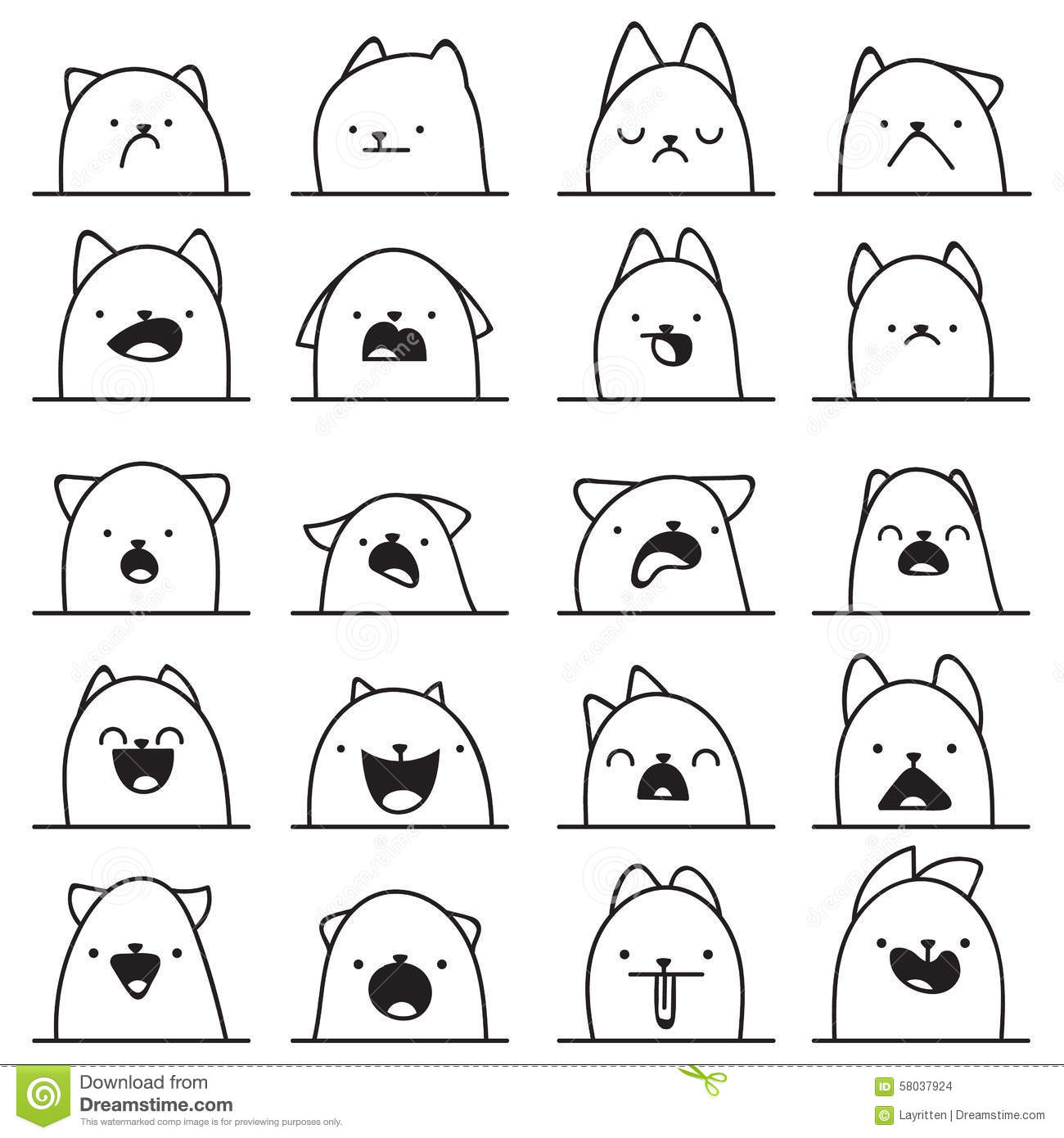 Set Of 20 Different Emotions Cat Anime Doodle Design