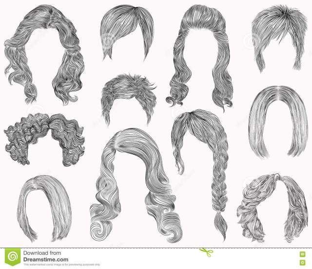set of different hairs and hairstyle .fringe curly cascade