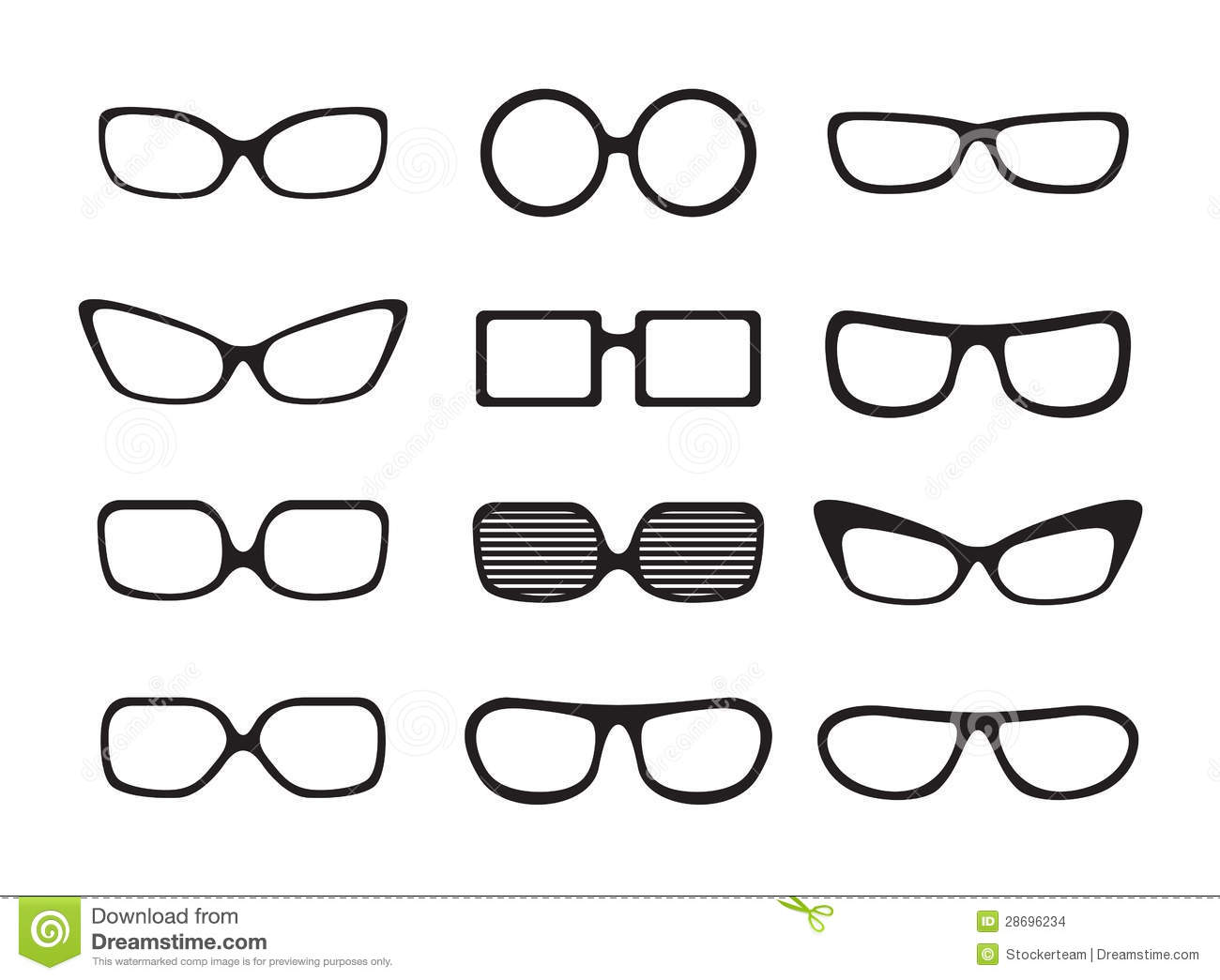 Set Of Different Icons Glasses Stock Illustration
