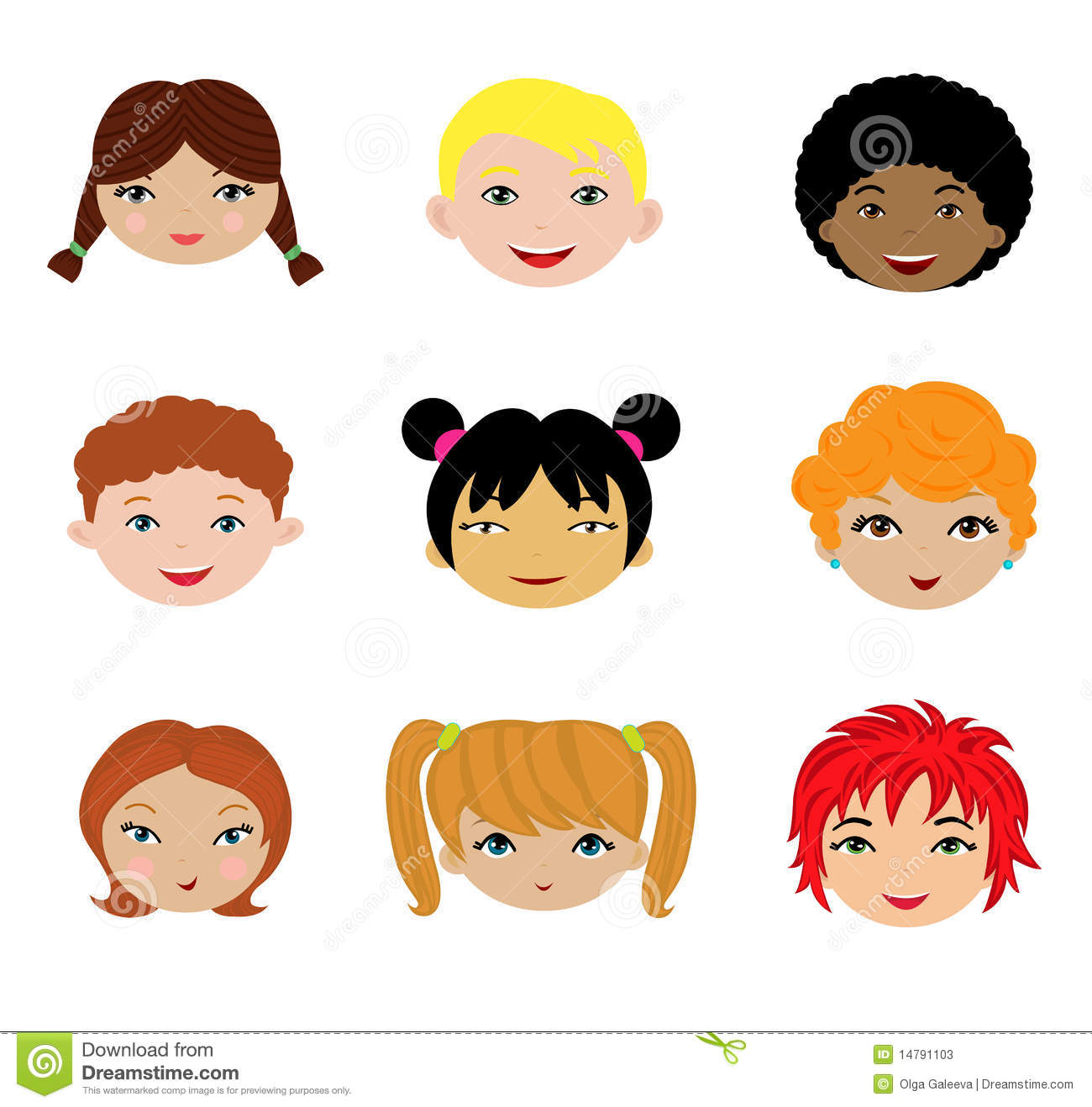 A Set Of Different Kids Faces Stock Vector