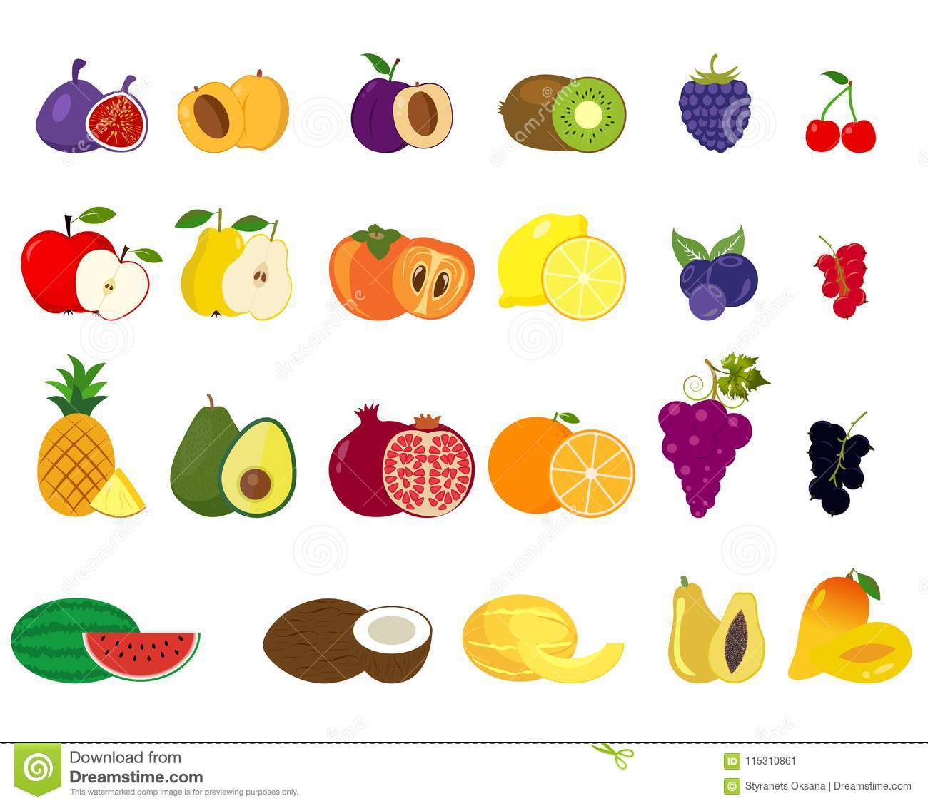 Set Of Fruits And Vegetables Icons Stock Vector