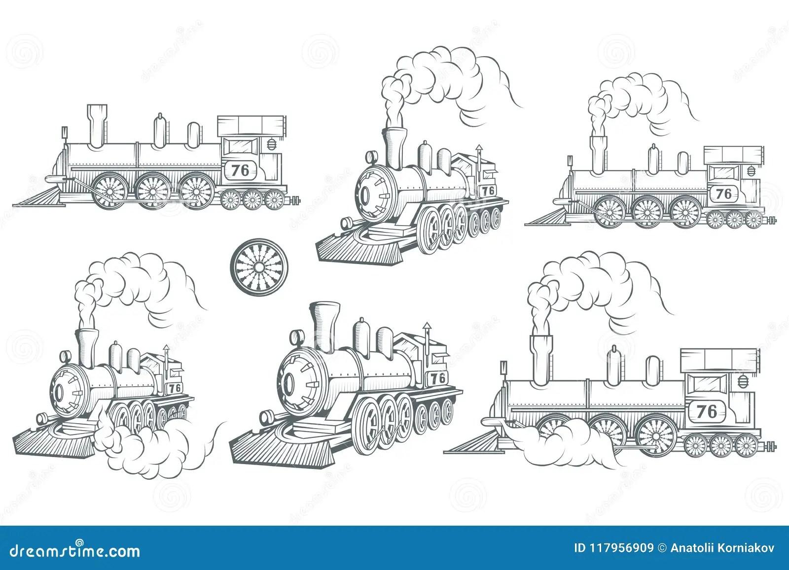Set Of Different Locomotive Old Train Logo Locomotive