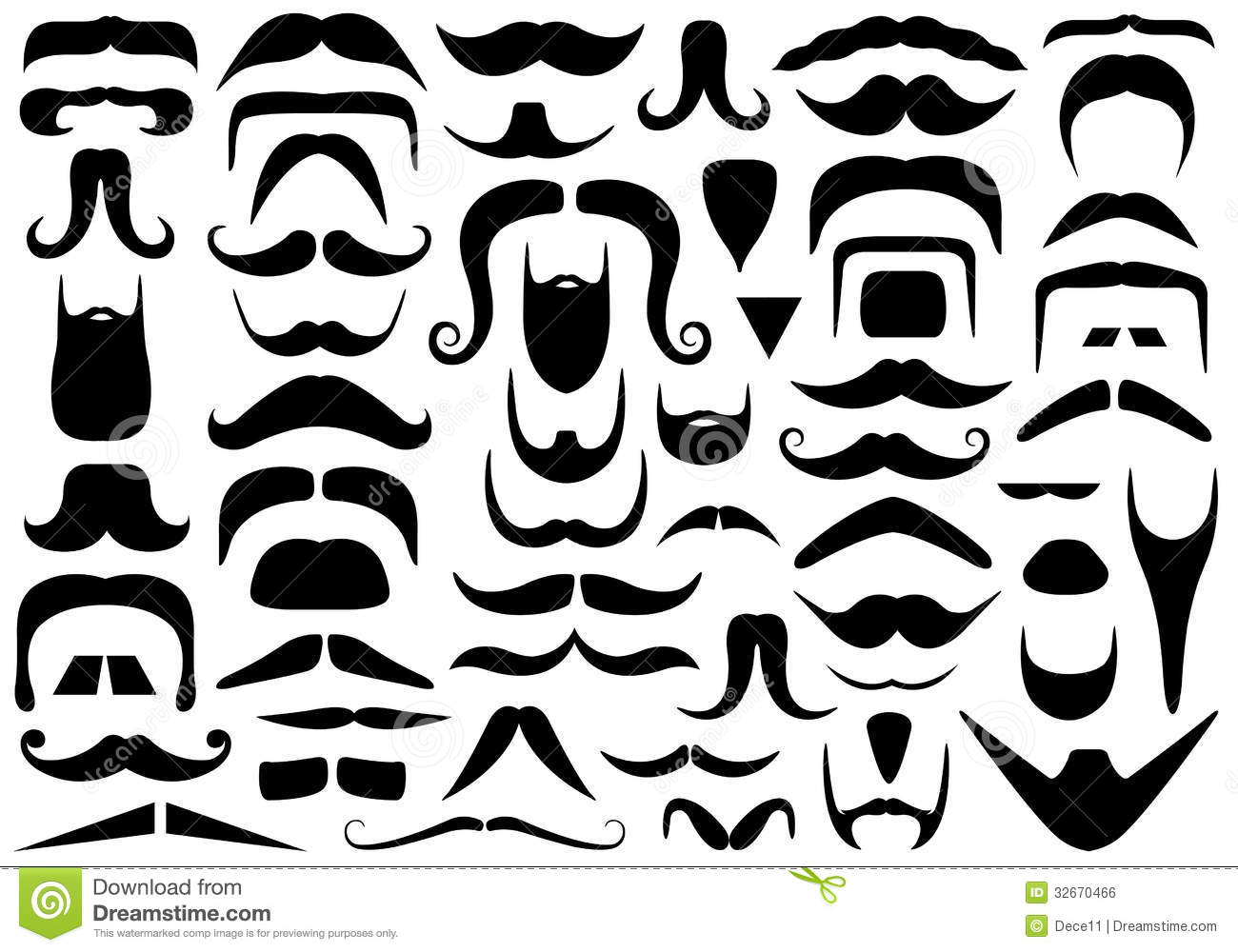 Set Of Different Mustaches Stock Vector Illustration Of