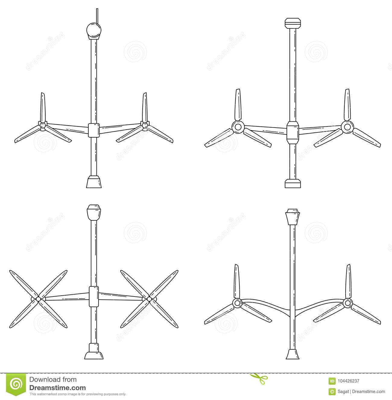 hight resolution of download set of different tidal power station rotters stock vector illustration of flat