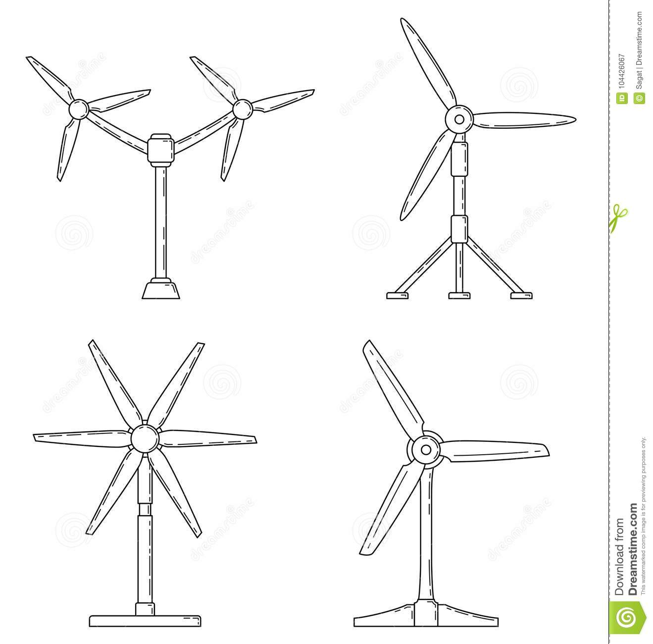 Set Of Different Tidal Power Station Rotters. Stock Vector