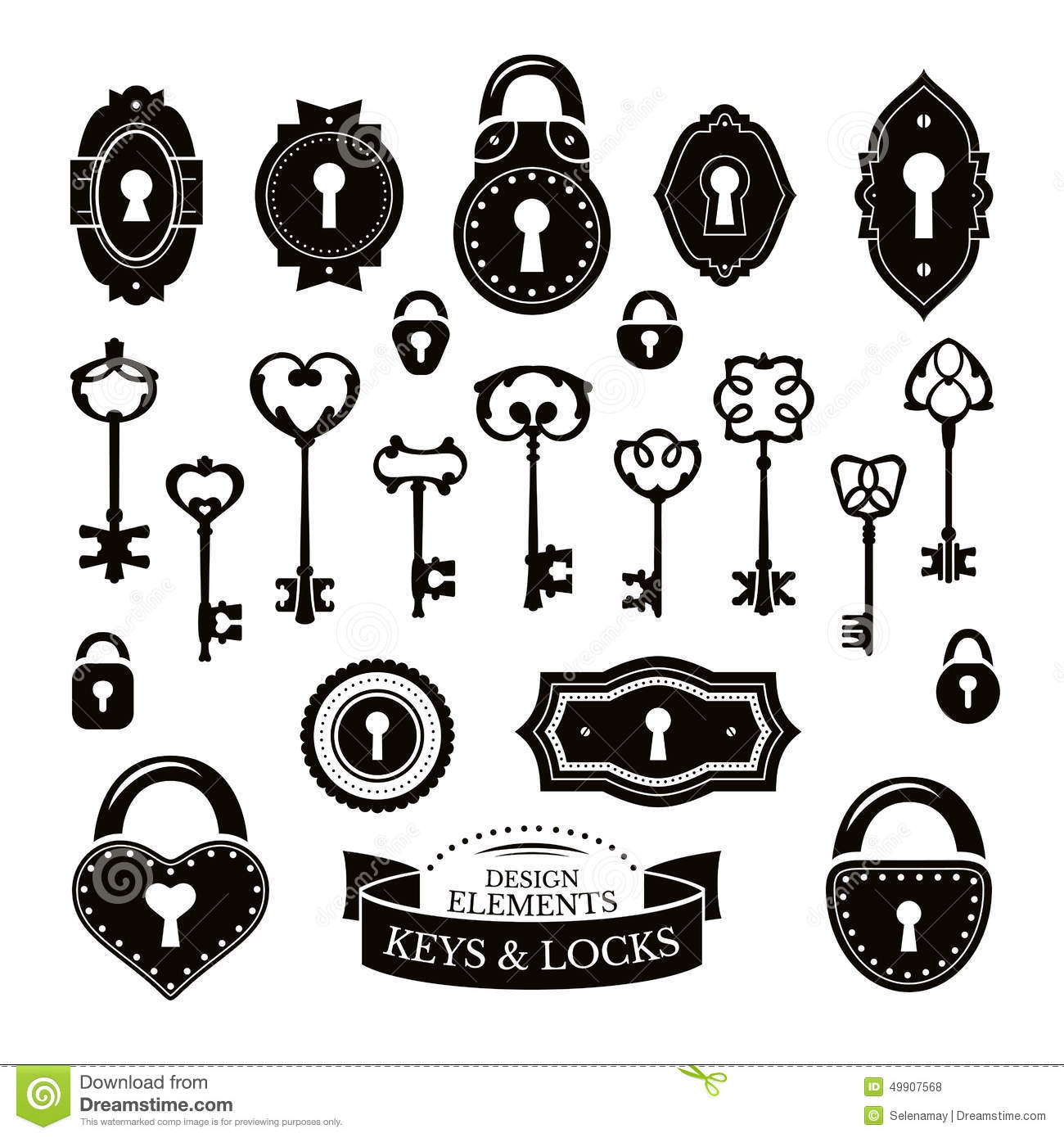 Set Of Different Vintage Keys And Keyholes And Locks Stock